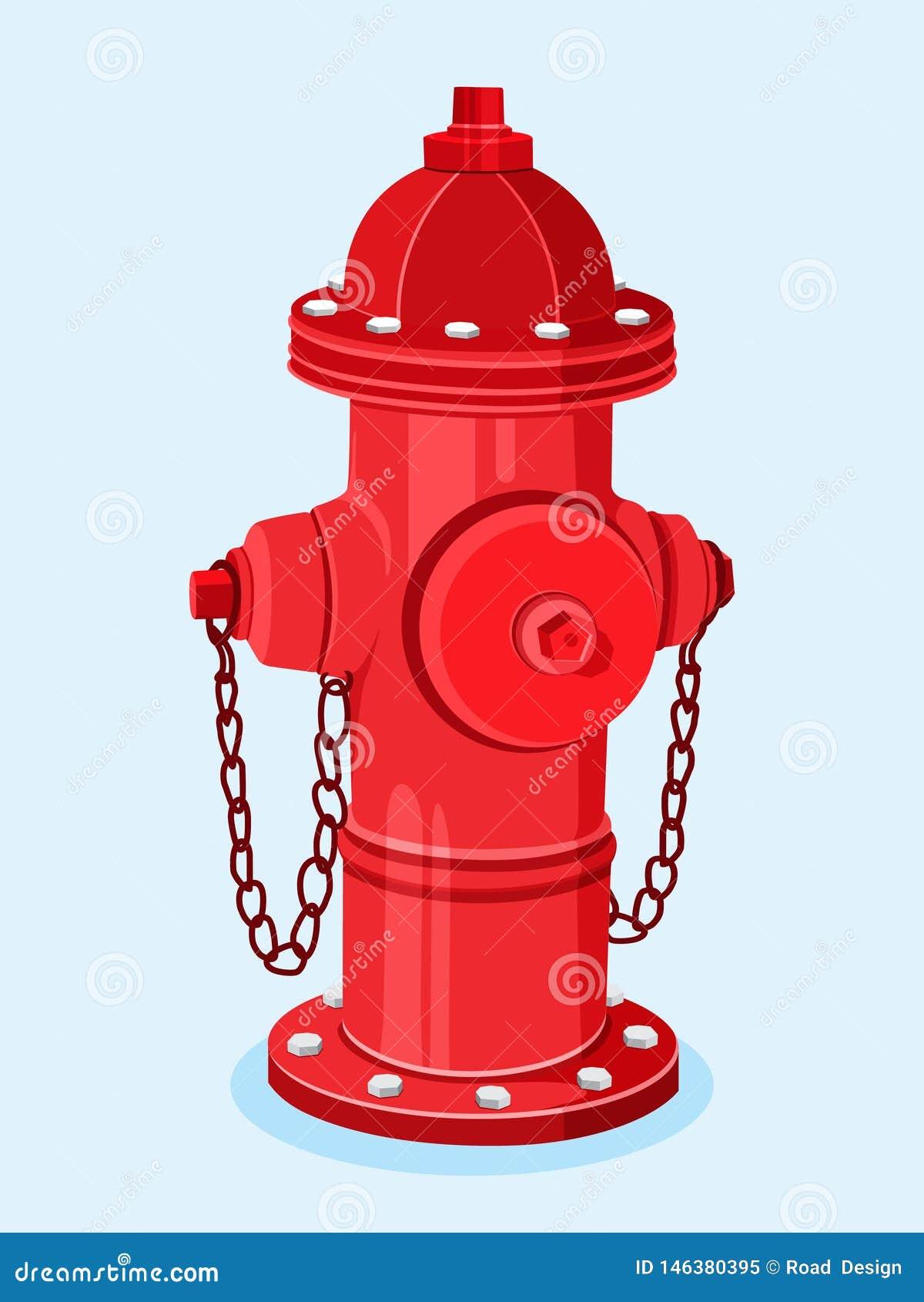 Ejemplo rojo isom?trico del vector de la boca de incendios