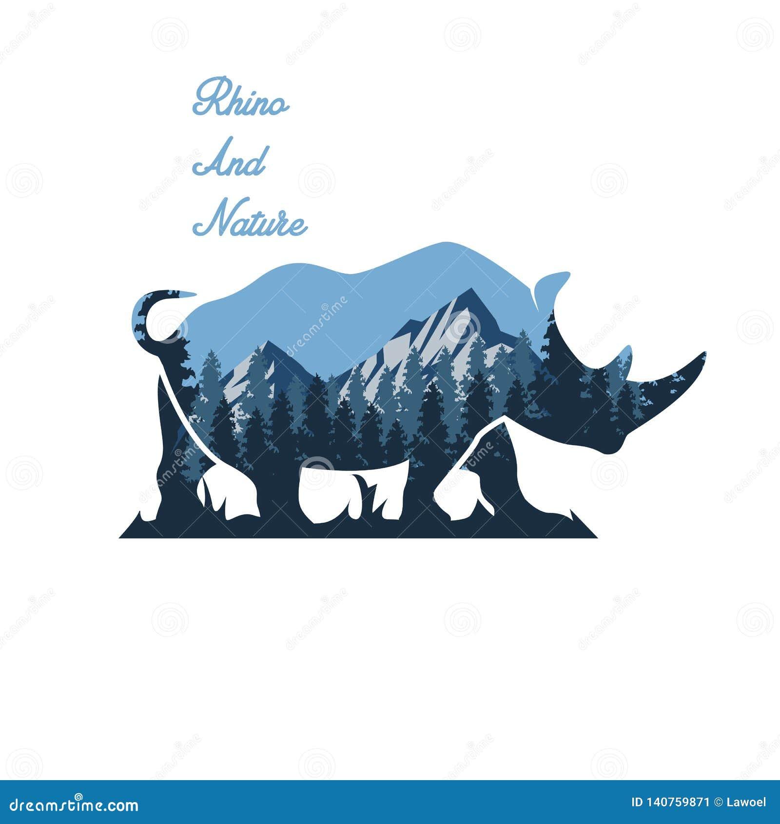 Ejemplo salvaje del rinoceronte y de la naturaleza
