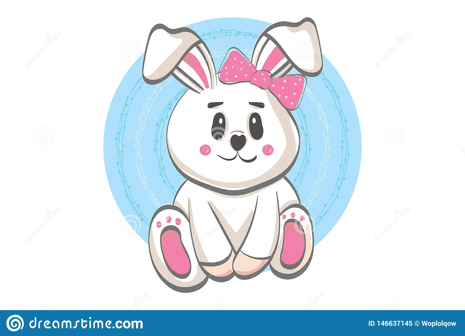 Ejemplo sonriente lindo del conejo - estilo plano de la historieta del vector