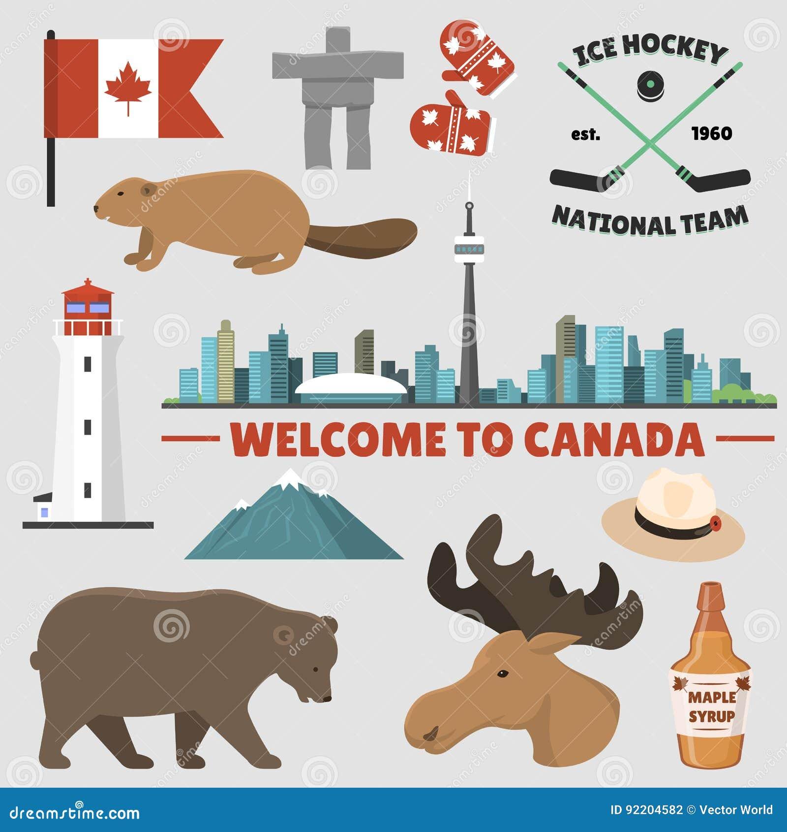 Ejemplo tradicional del vector del símbolo nacional del diseño del turismo del país de los objetos de Canadá del viaje