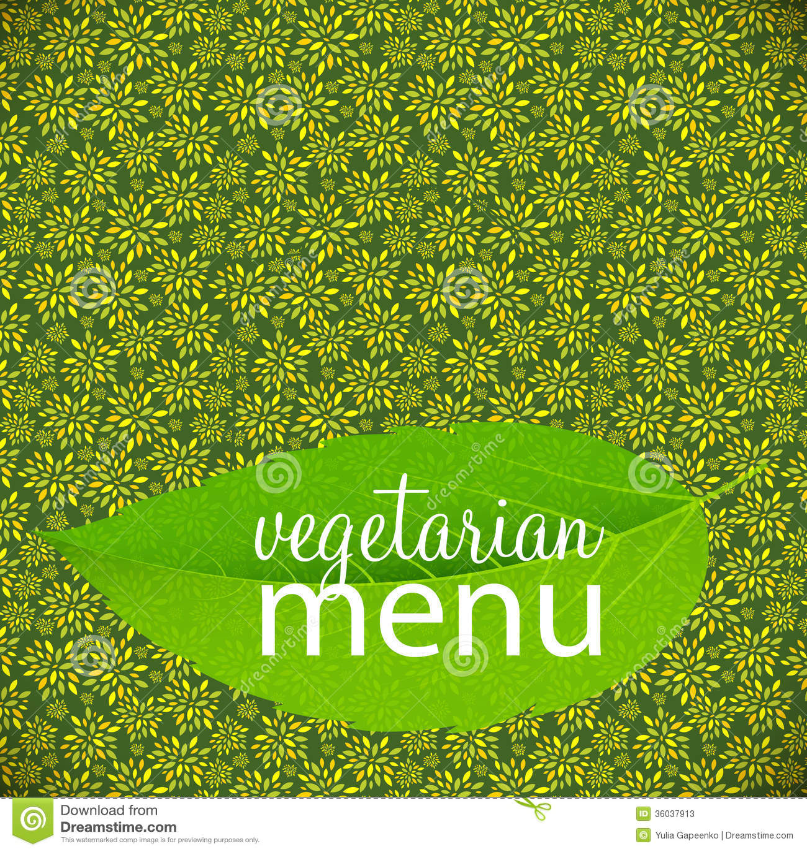 Ejemplo Vegetariano Del Vector De La Plantilla Del Menú Ilustración ...