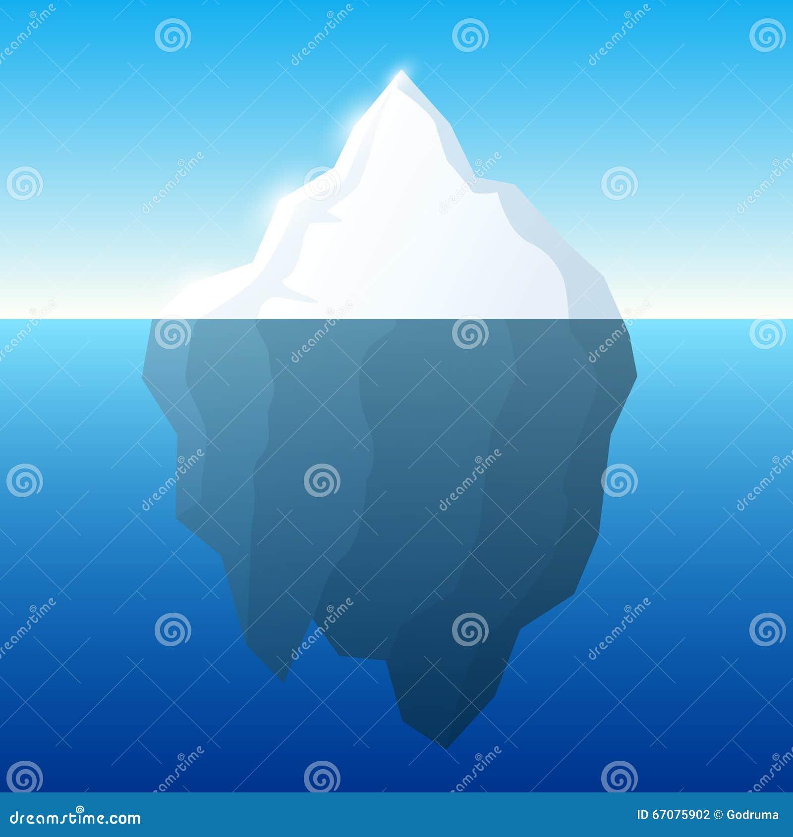 Ejemplo y fondo del iceberg Iceberg en concepto del agua Vector