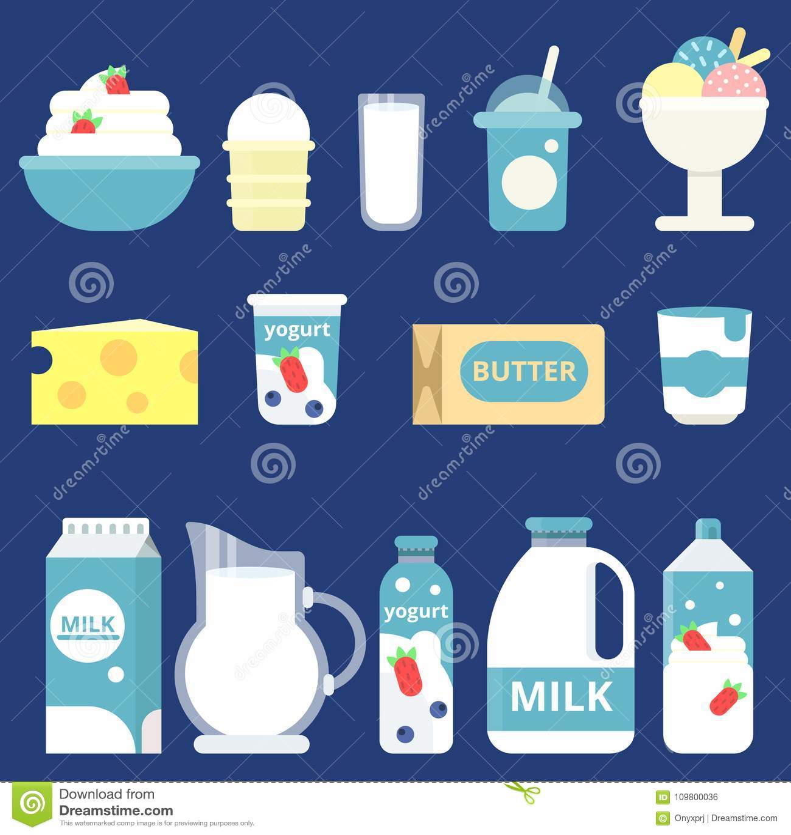 Ejemplos De Los Productos Lácteos Crema Yogur Y Queso Ilustración Del Vector Ilustración De Mantequilla Cuajada 109800036