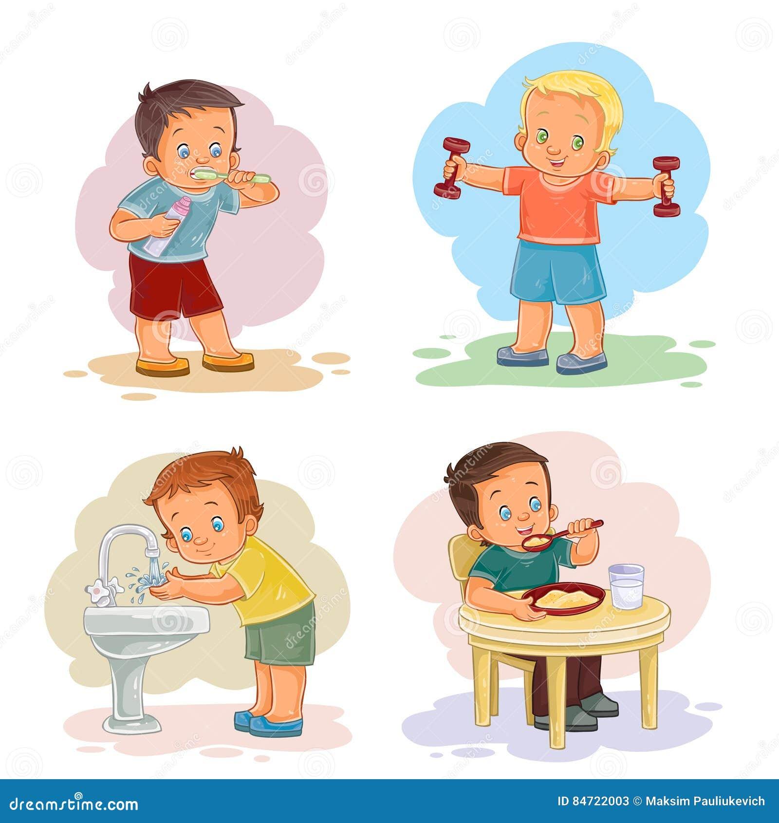 El sistema de ejemplos del clip art del vector en el tema de la mañana el niño  pequeño que cepilla sus dientes a0b0d1a41e5