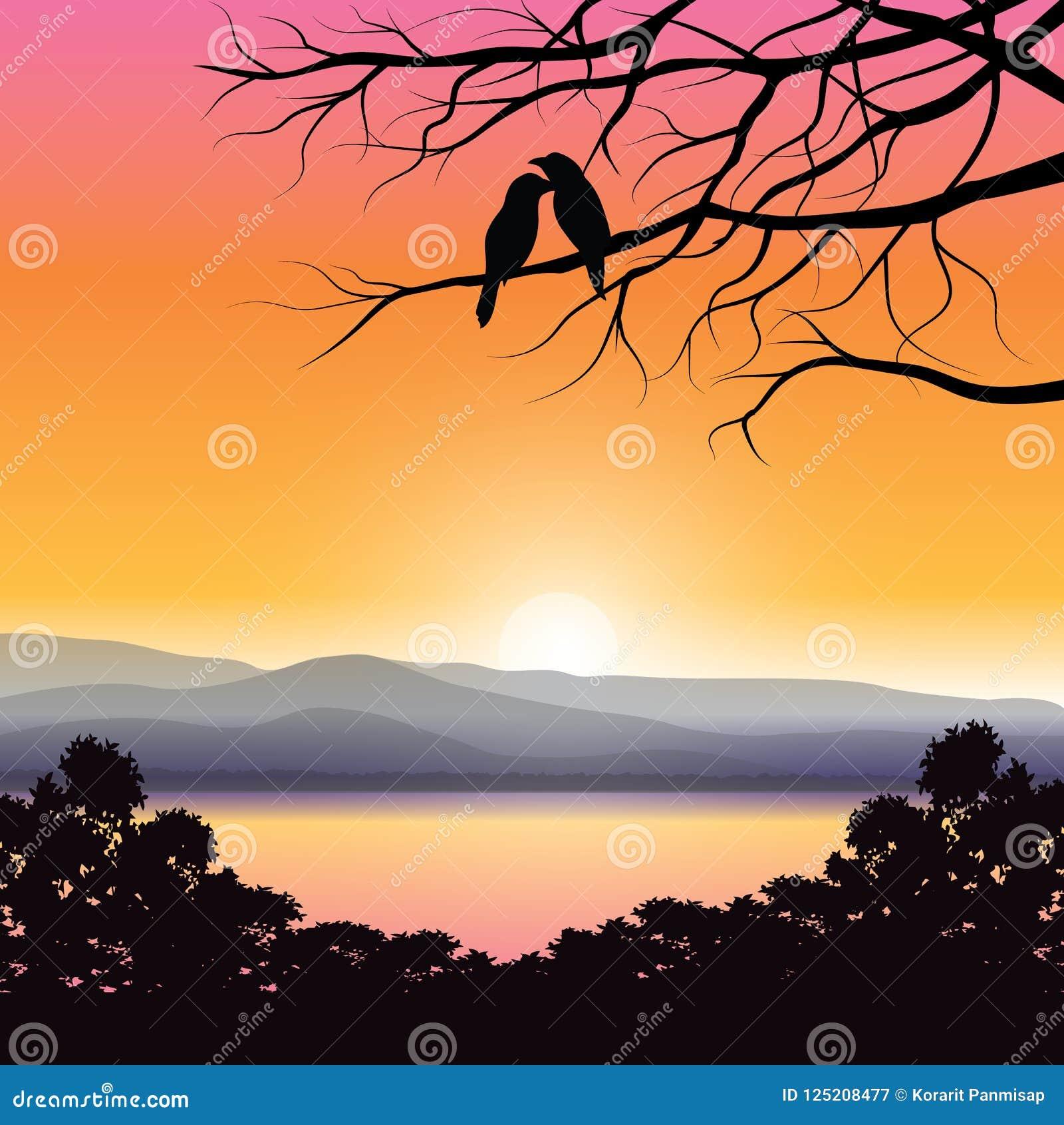 Ejemplos del vector, amantes del pájaro