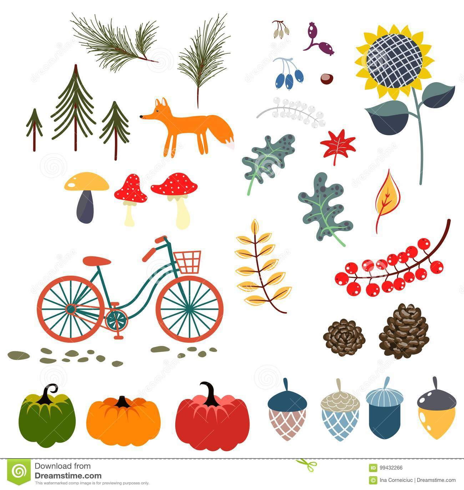 Ejemplos del vector del clip art de la caída del otoño