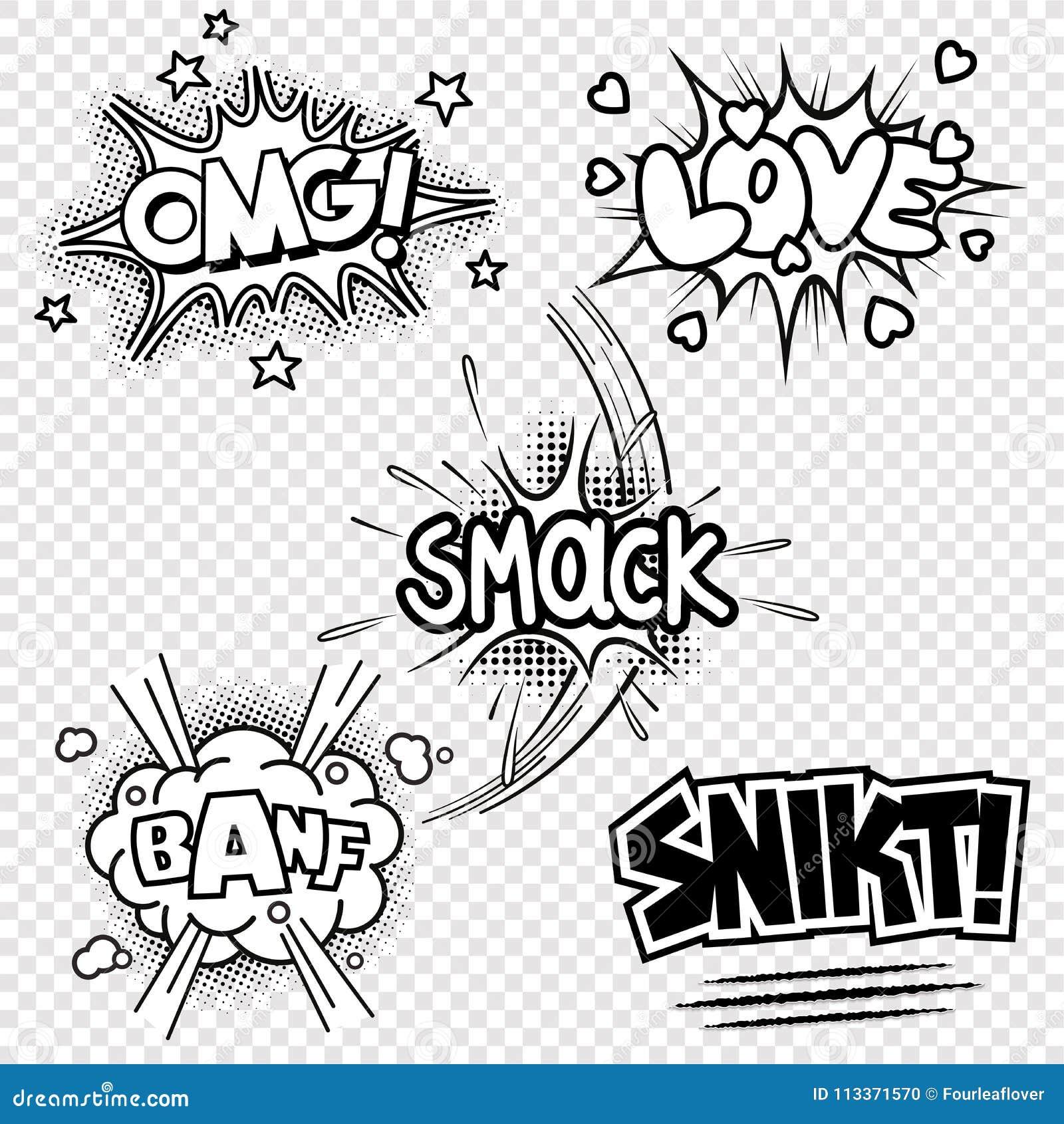 Ejemplos del vector de efectos sonoros cómicos