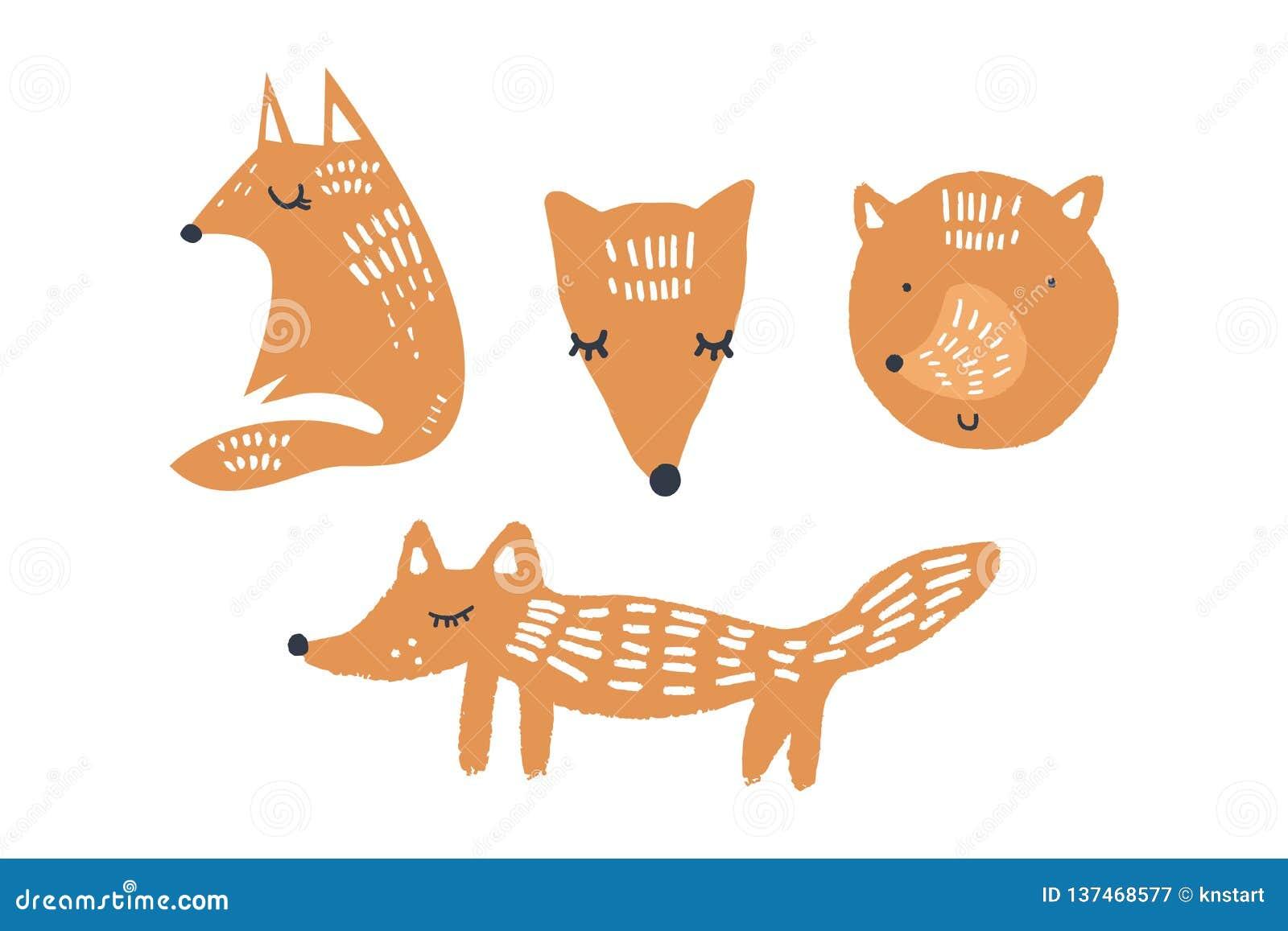 Ejemplos del vector de los zorros lindos, colección de los animales del cuarto de niños del arbolado