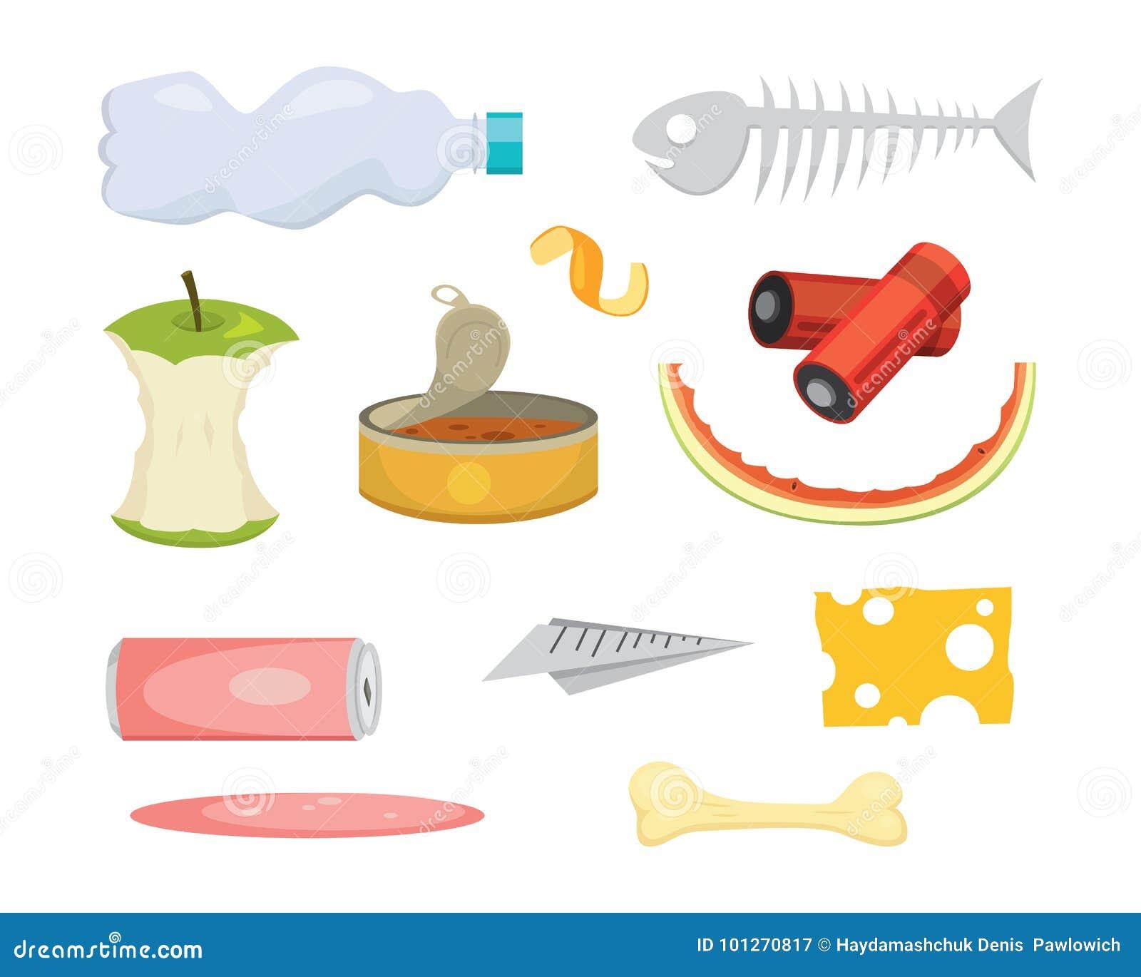 Ejemplos determinados de la basura y de la basura en estilo de la historieta Iconos biodegradables y plásticos