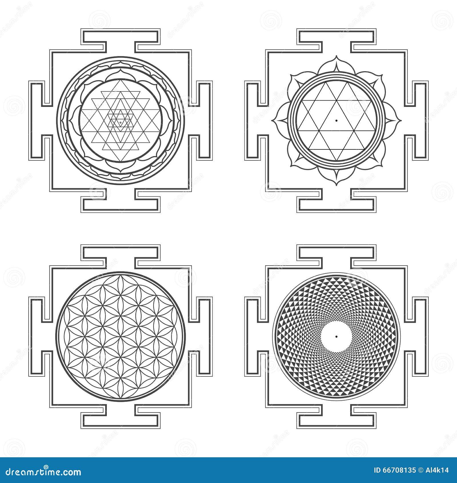 Ejemplos hindúes del yantra del esquema de Monocrome fijados