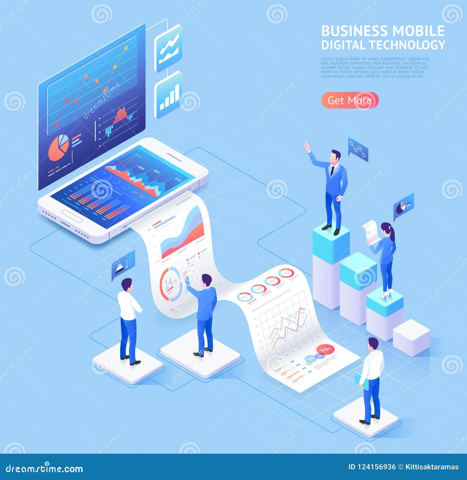 Ejemplos isométricos de la aplicación móvil del negocio