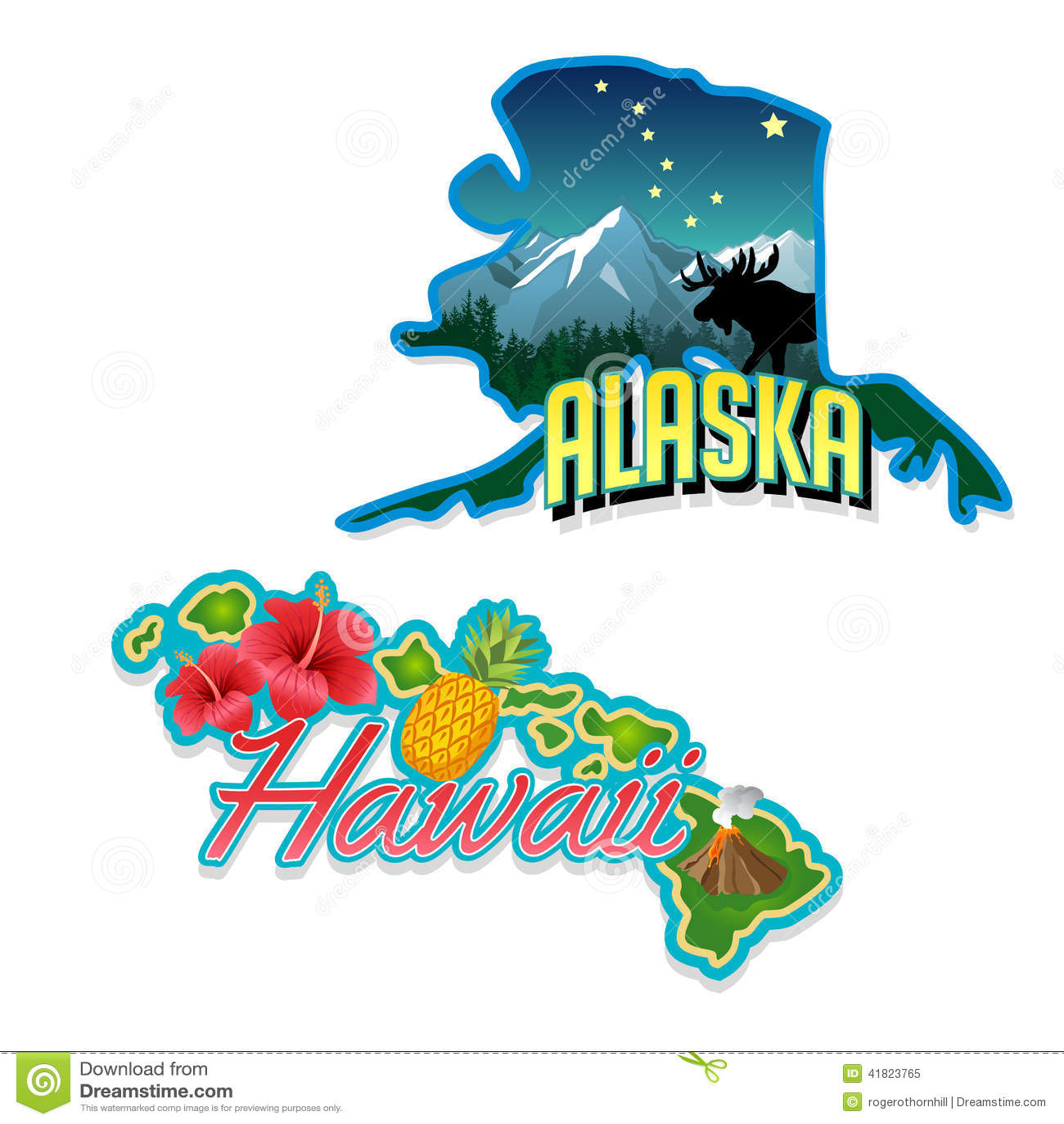 Ejemplos retros de los hechos del estado de Alaska, Hawaii