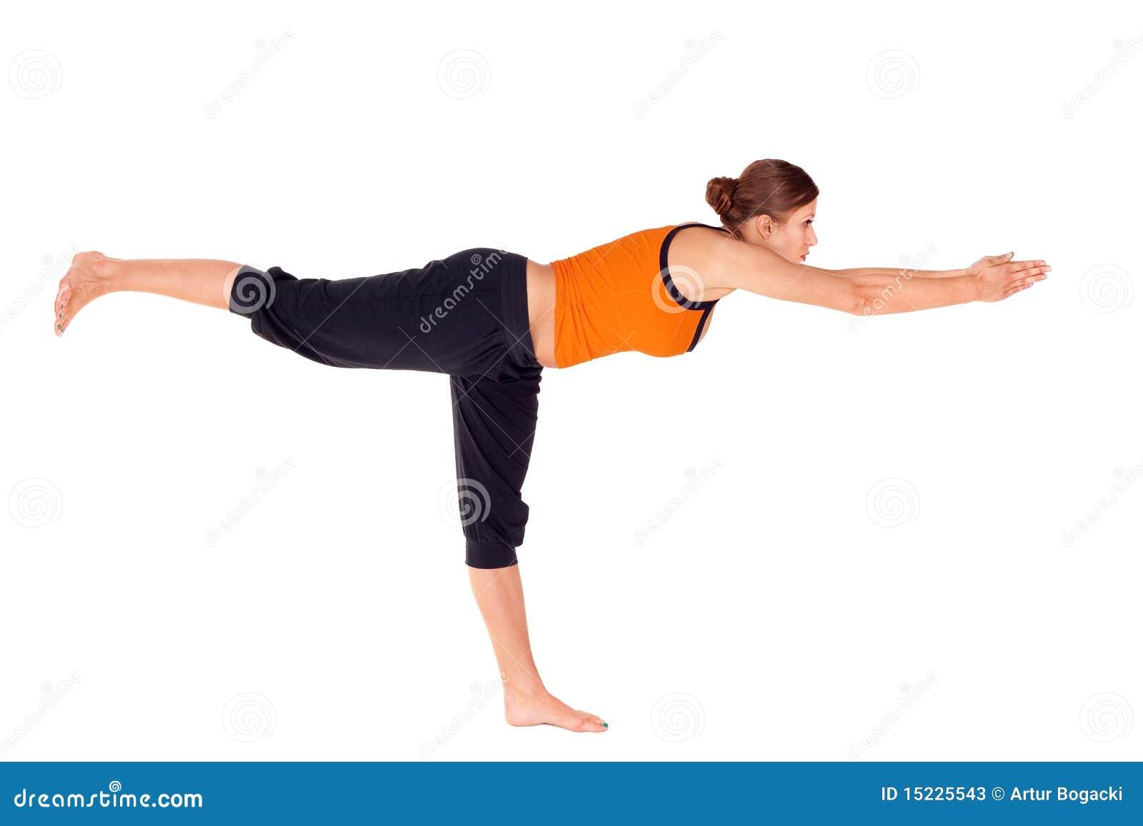 Ejercicio practicante de la yoga de la actitud 3 del guerrero de la mujer