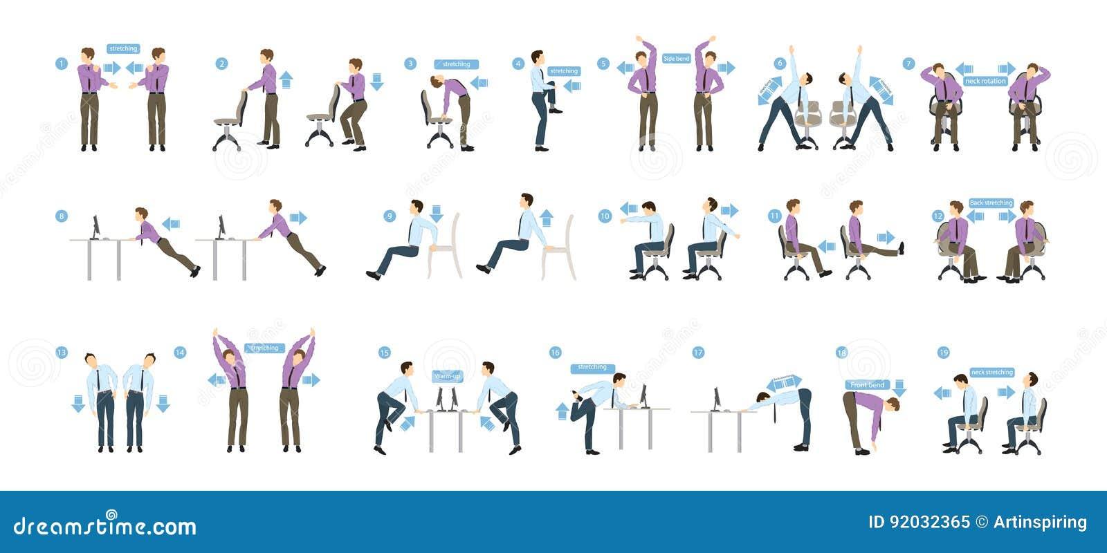 Ejercicios del deporte para la oficina