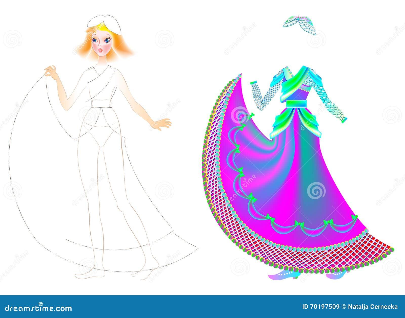 Ejercite Para Que Los Niños Dibujen Y Pinten El Vestido Hermoso Para ...