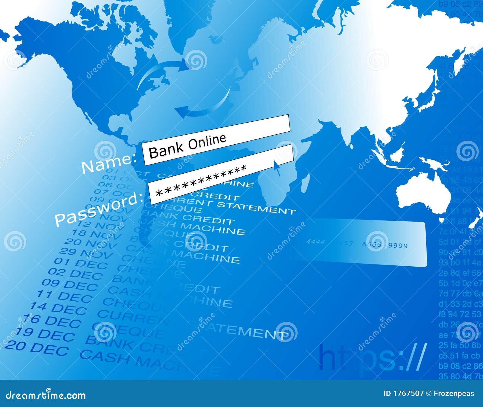 Ejerza la actividad bancaria en la línea ilustración.