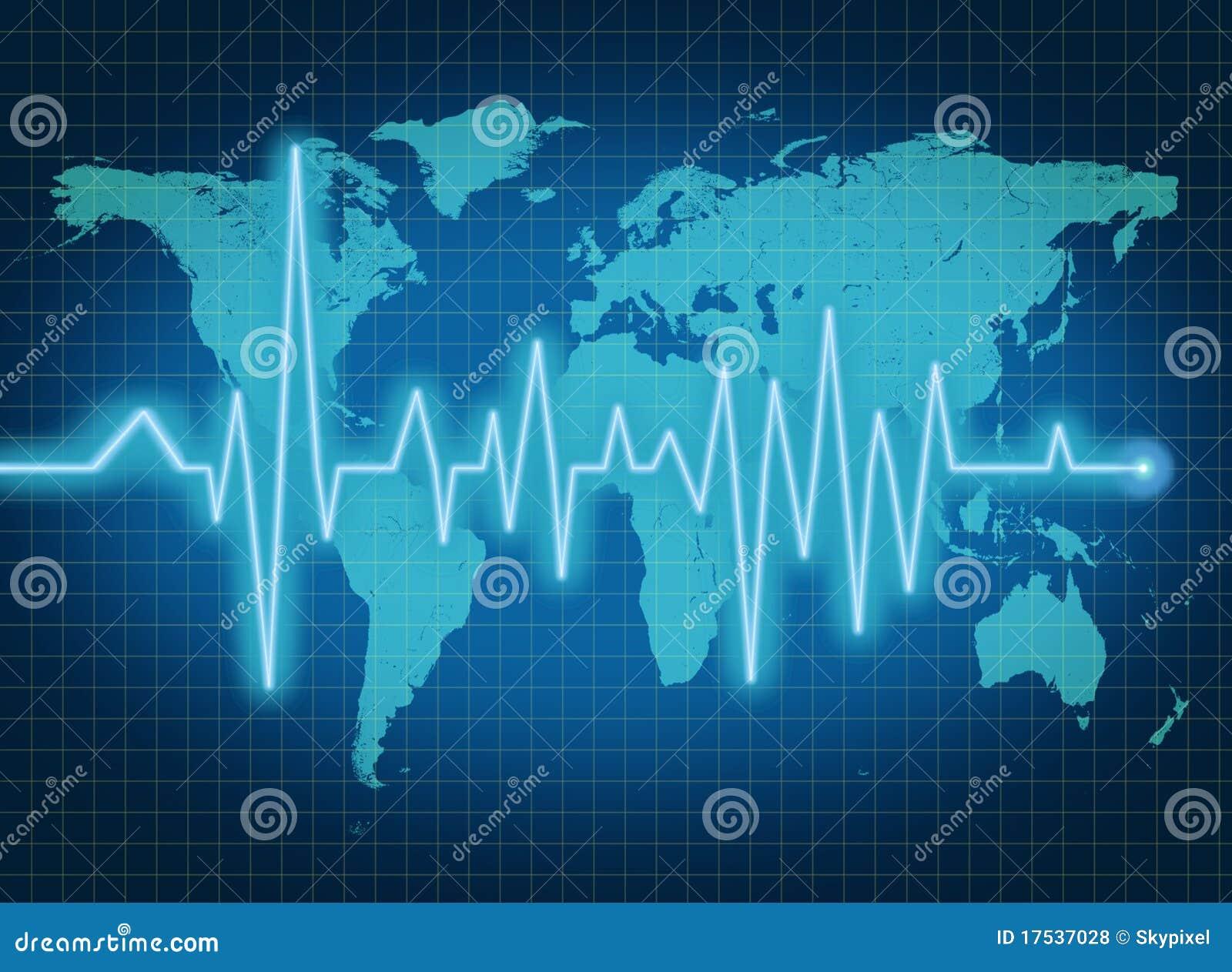 EKG ECG world health economy blue map