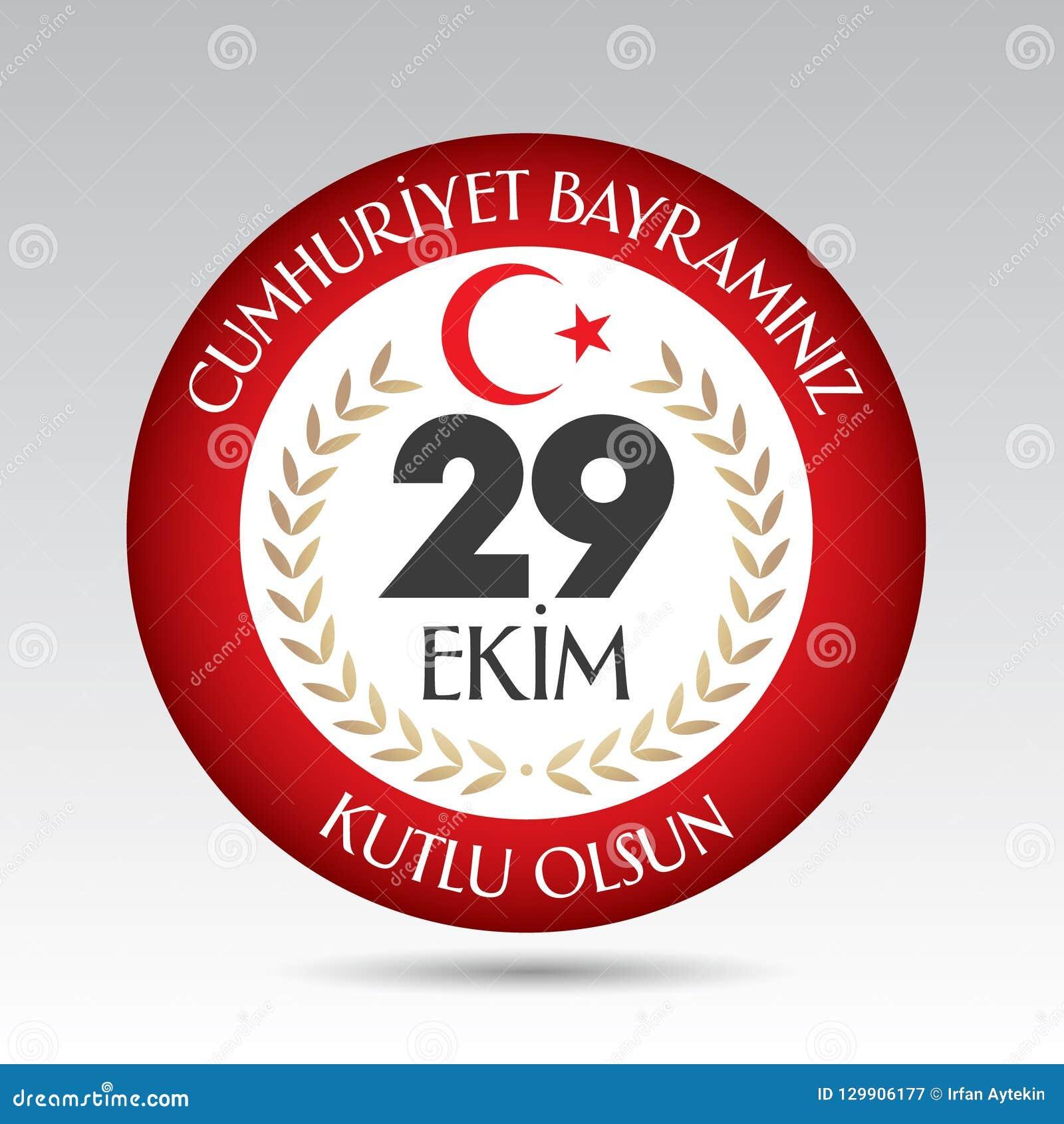 29 Ekim Cumhuriyet Bayrami Übersetzung: Am 29. Oktober Tag der Republik die Türkei und der Nationaltag in der Türkei