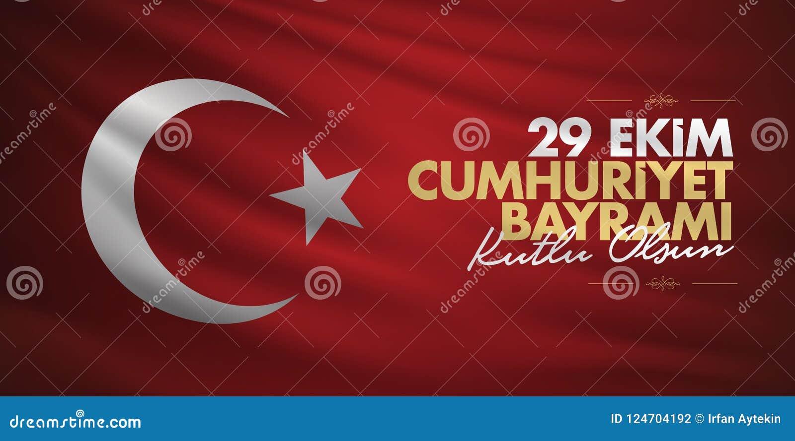 29 ekim Cumhuriyet Bayrami. Translation: 29 october Republic Day Turkey and the National Day in Turkey, billboard wishes design.