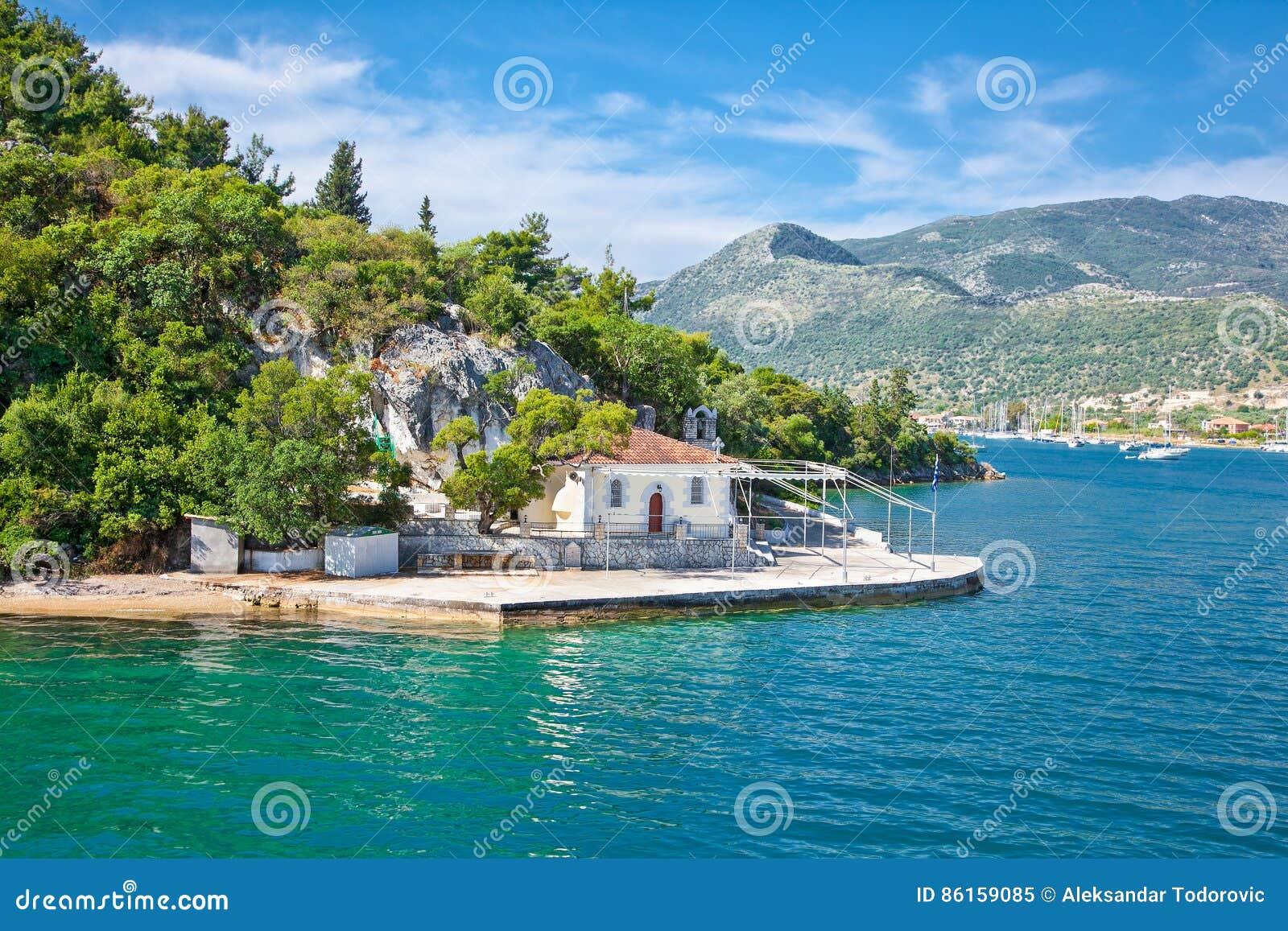 Ekklisia Agia Kiriaki church in Nydri at Lefkada island in Greece.