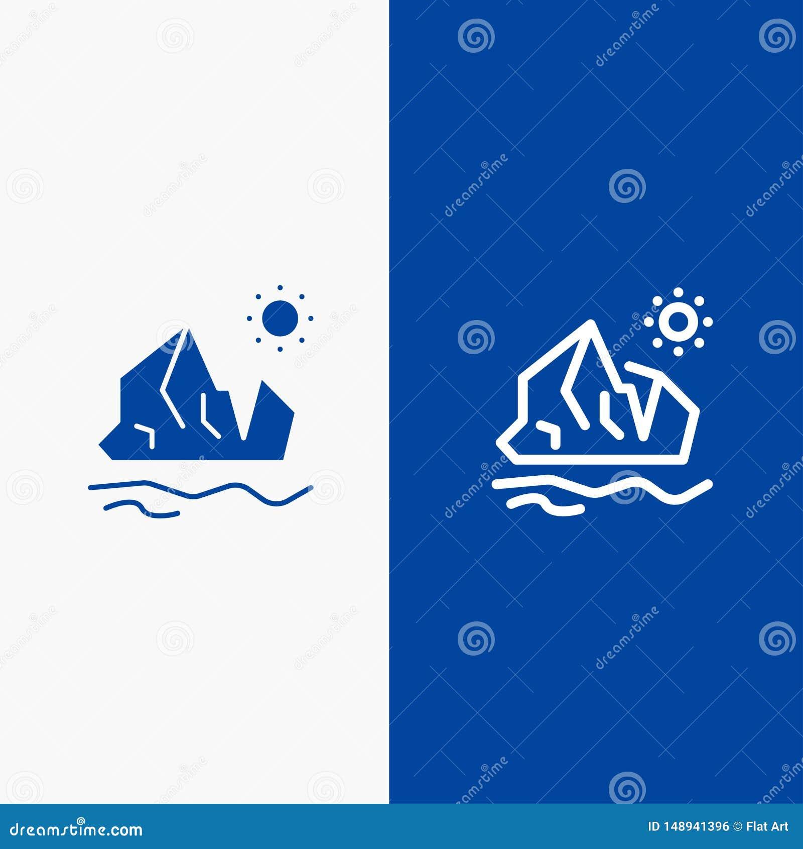 Ekologi, miljö, is, isberg, baner för blå för baner för smältande symbol för linje och för skåra fast blått symbol för linje och
