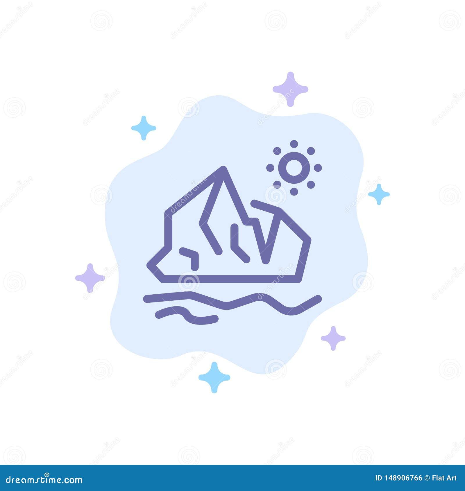 Ekologi miljö, is, isberg, smältande blå symbol på abstrakt molnbakgrund