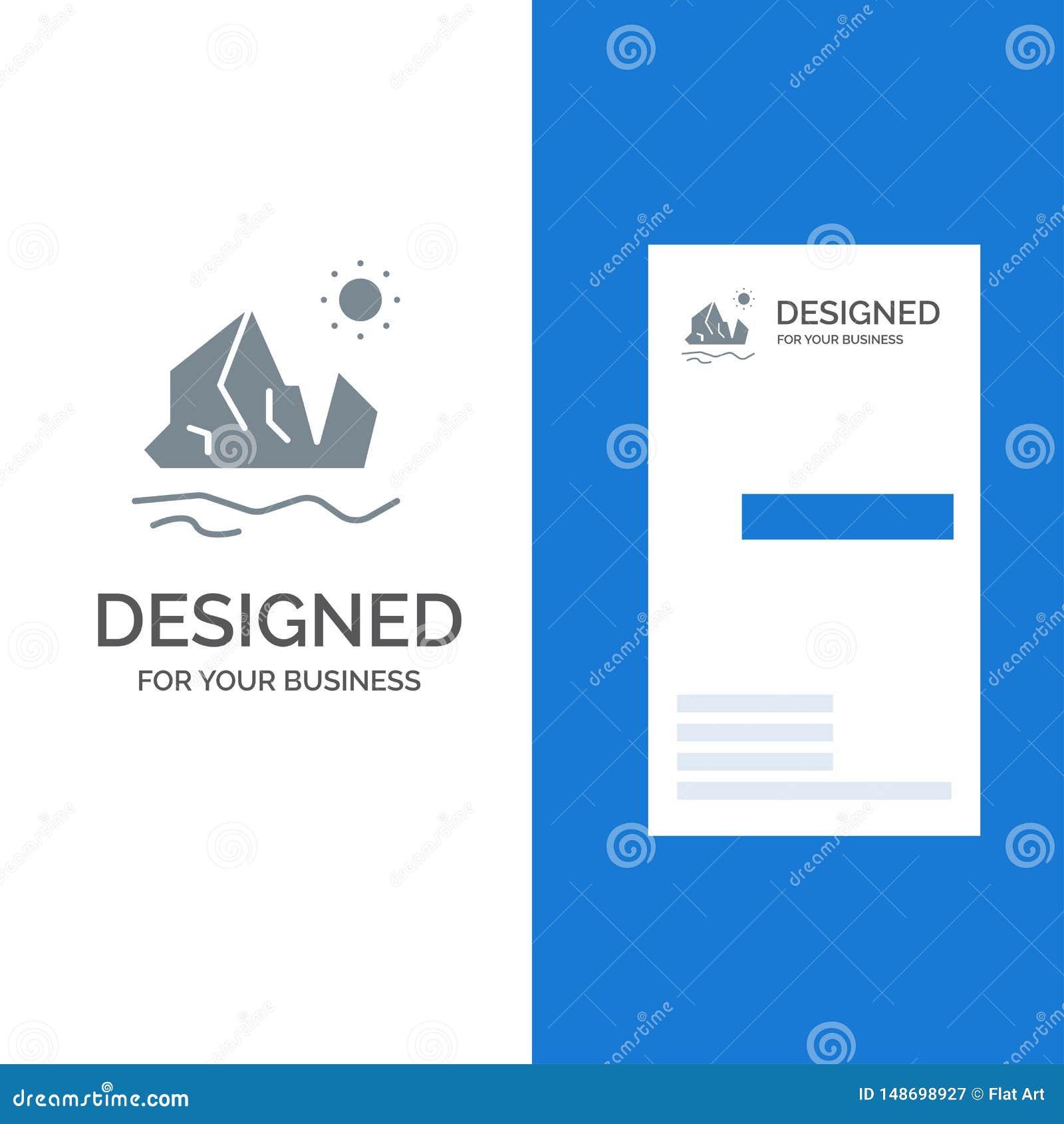Ekologia, środowisko, lód, góra lodowa, Topiący Popielatego logo projekt i wizytówka szablon