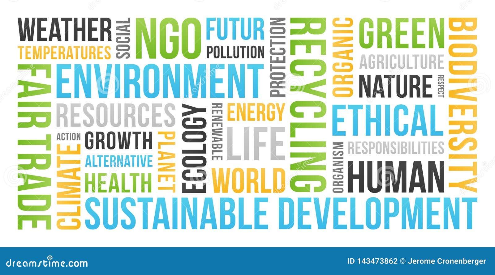 Ekologia, środowisko, podtrzymywalny rozwój - słowo chmura