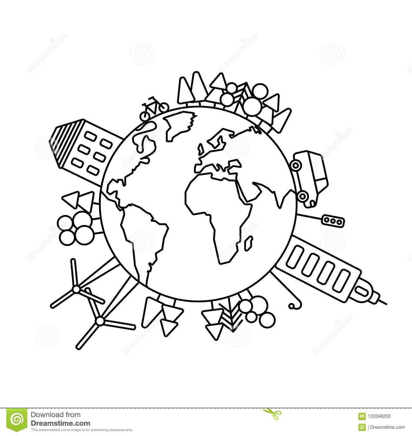 Ekologicznie świat, planeta logo lub symbol w liniowym stylu,
