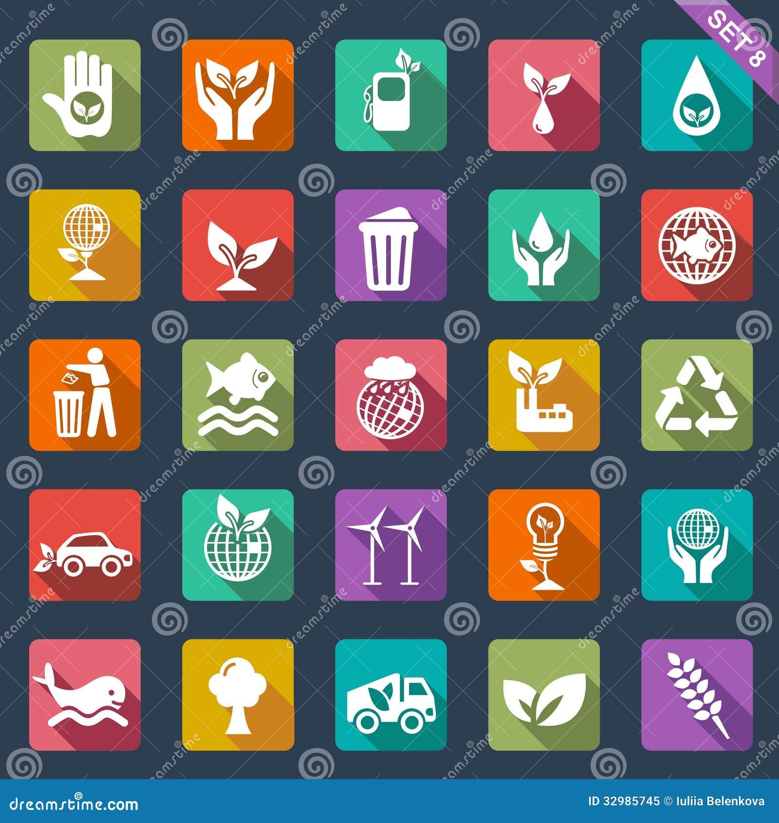 Ekologii ikony - płaski projekt