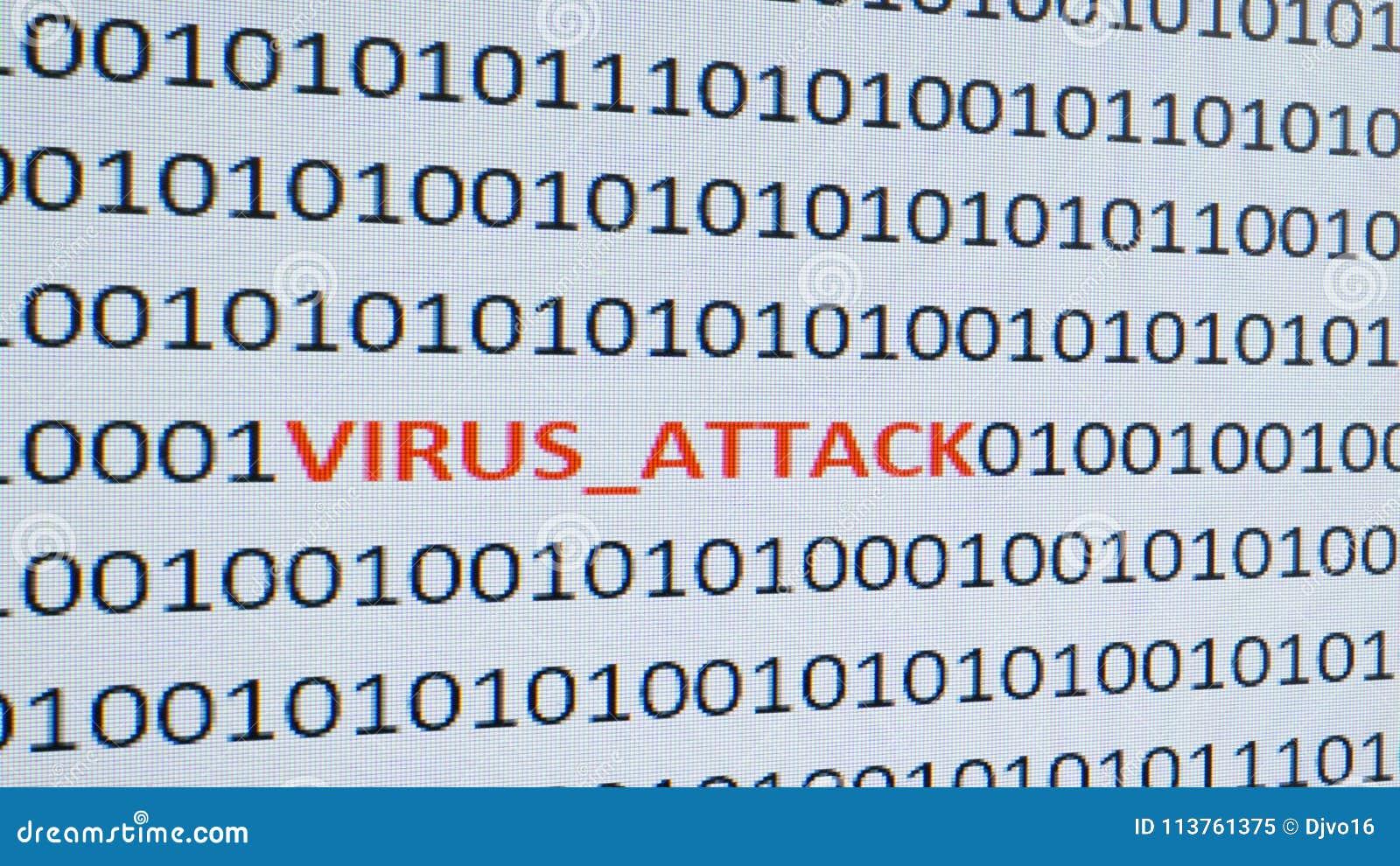 Ekran komputerowy strzelał z binarnym kodem, ostrzegawczym tekst, pojęcie dla komputeru, technologia i online ochrona,