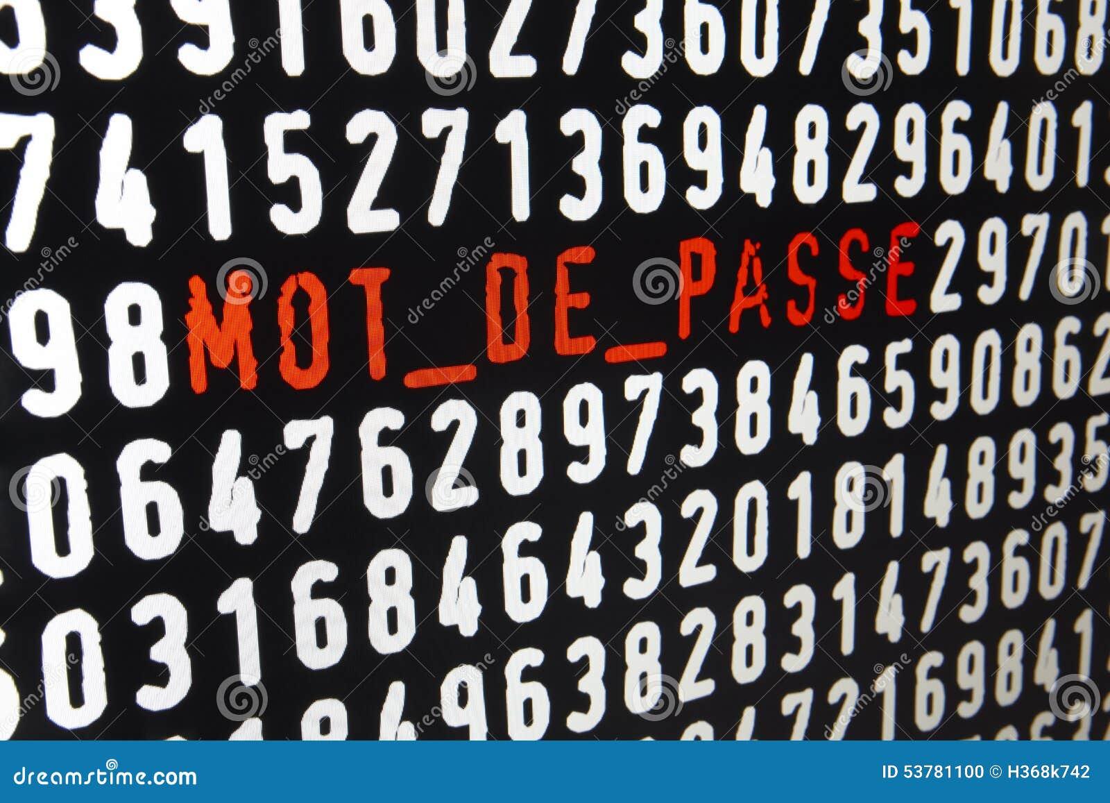 Ekran komputerowy z mot de passe tekstem na czarnym tle