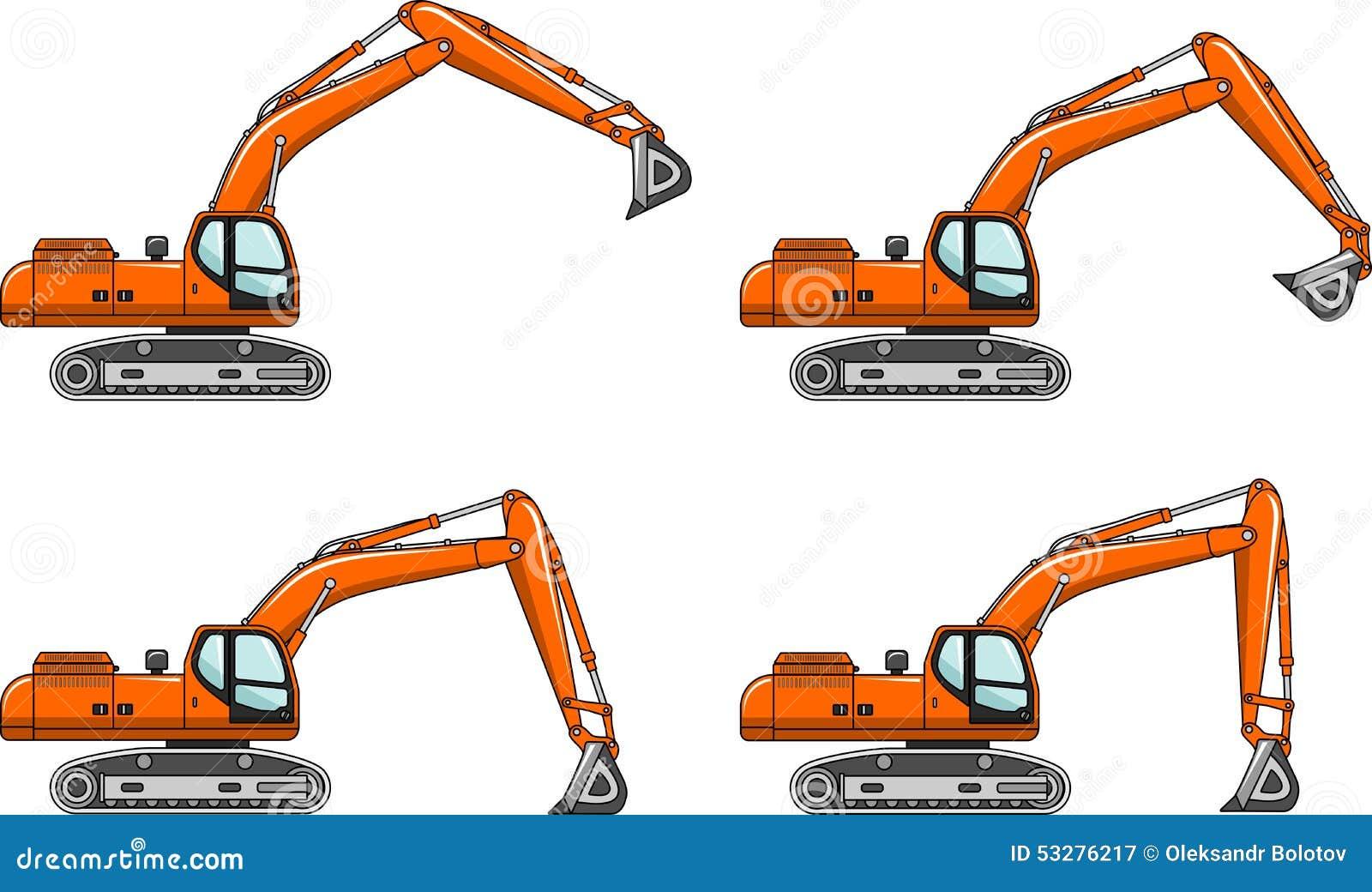 Ekskawatory Ciężkiej budowy maszyny również zwrócić corel ilustracji wektora