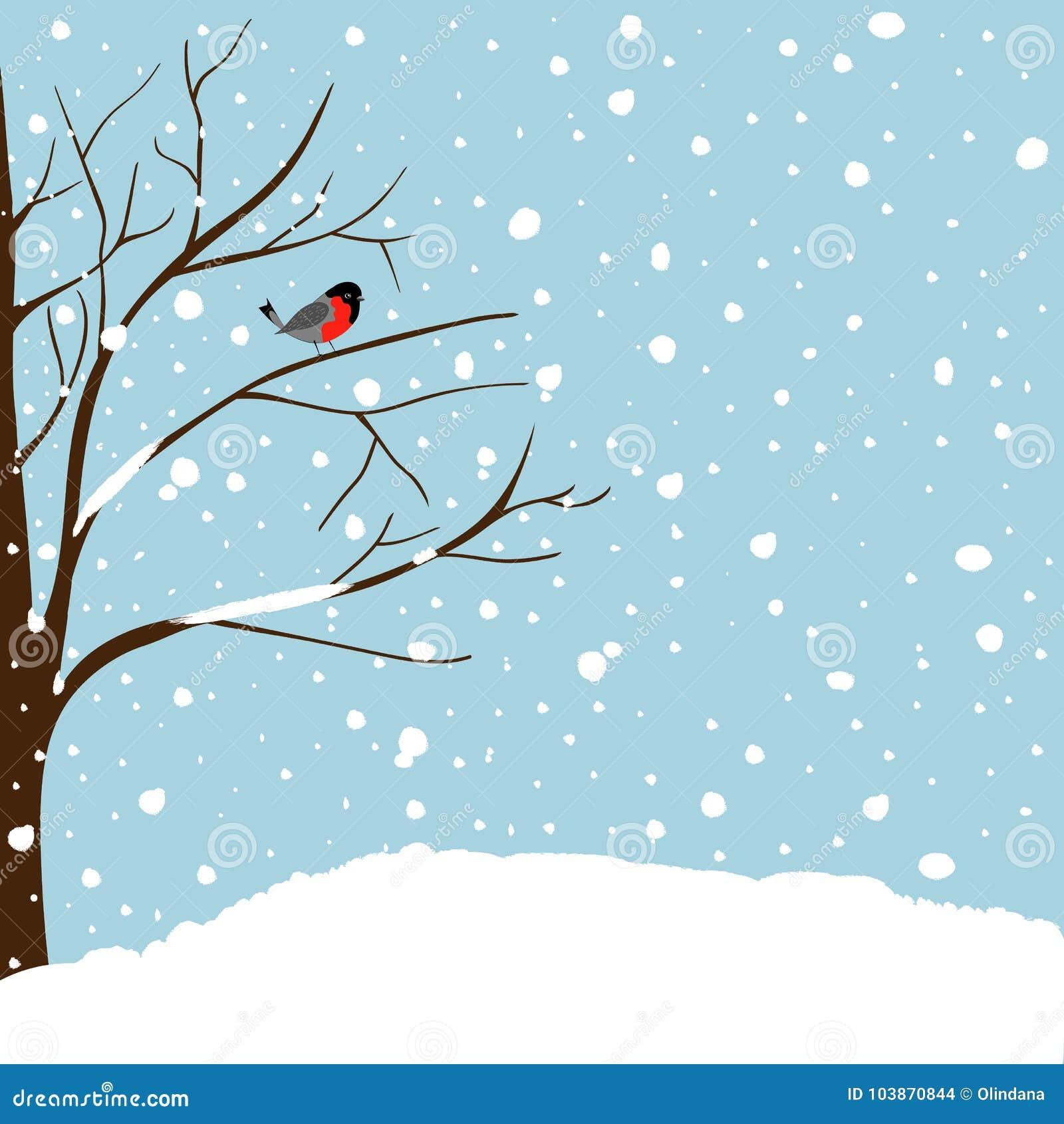 Ekskog som täckas med snö Kort för hälsning för nytt år för jul Forest Falling Snow Red Capped Robin Bird Sitting på träd blå sky