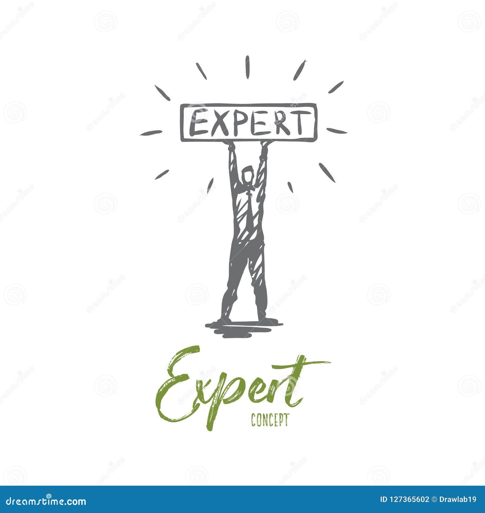 Ekspert, biznes, profesjonalista, rada, osoby pojęcie Ręka rysujący odosobniony wektor