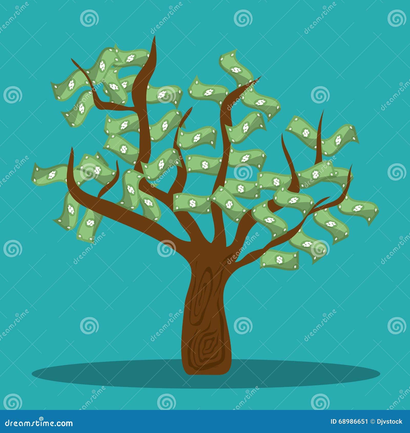 El árbol de los ahorros y de las cuentas del dinero diseña, vector el ejemplo