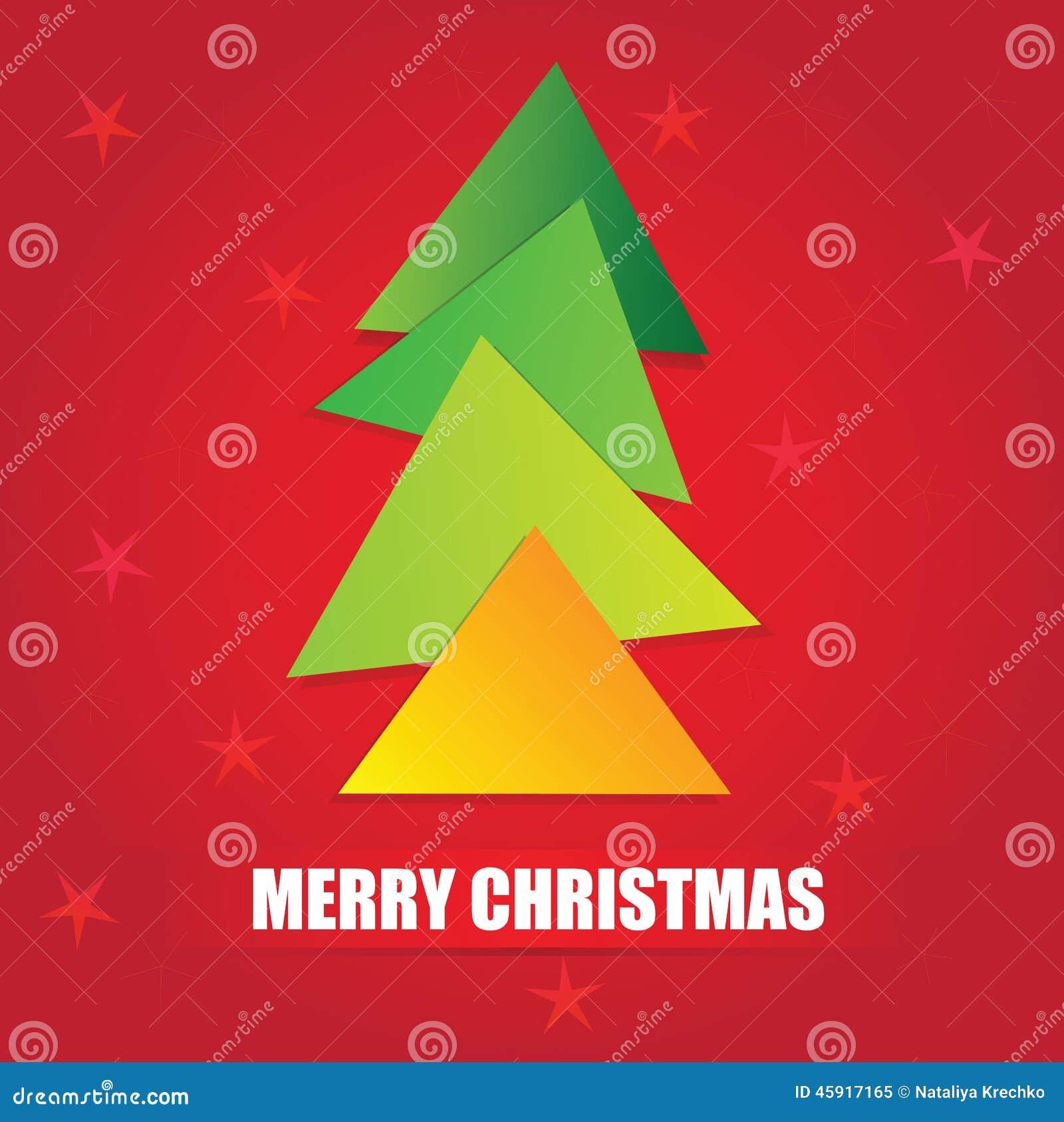 El árbol De Navidad Geométrico Simple De La Forma Del Triángulo ...