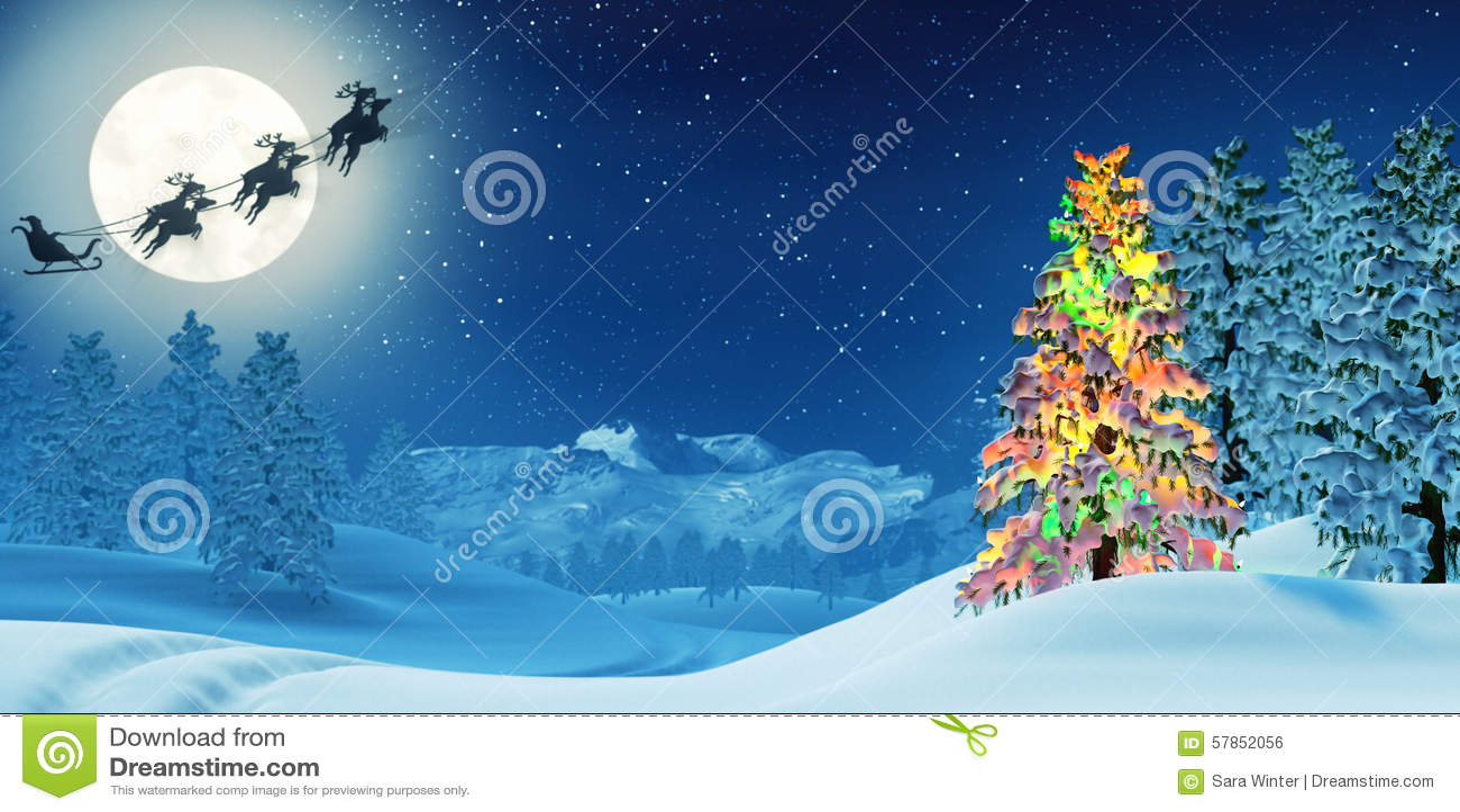 el rbol de navidad y pap noel en invierno iluminado por la luna ajardinan en la