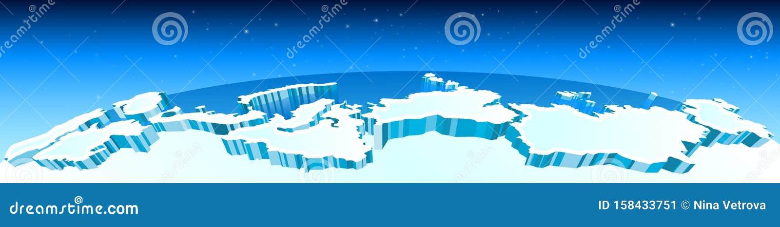 El ã Rtico El Polo Norte En El Mapa Los Glaciares Y Las Regiones Del Norte ã Rtico En El Mundo Vector Ilustración Del Vector Ilustración De Libro Congelado 158433751