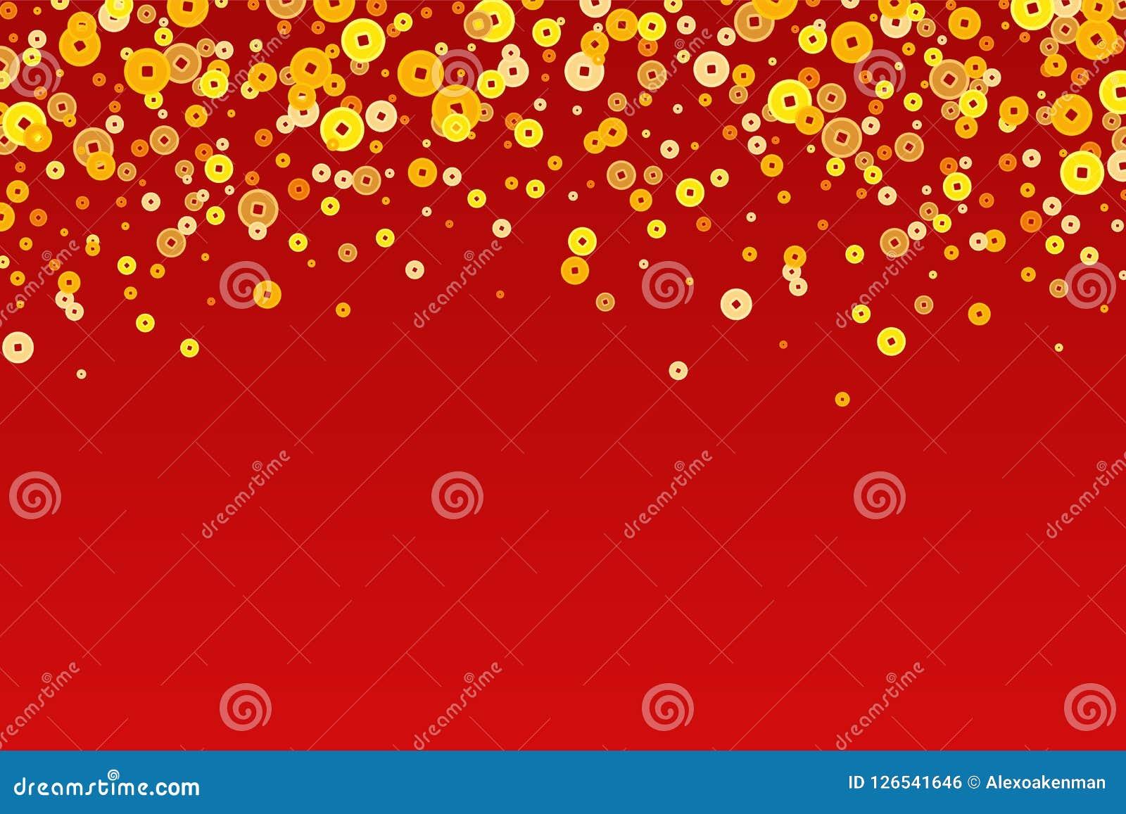 El Año Nuevo chino de oro del vector acuña el fondo