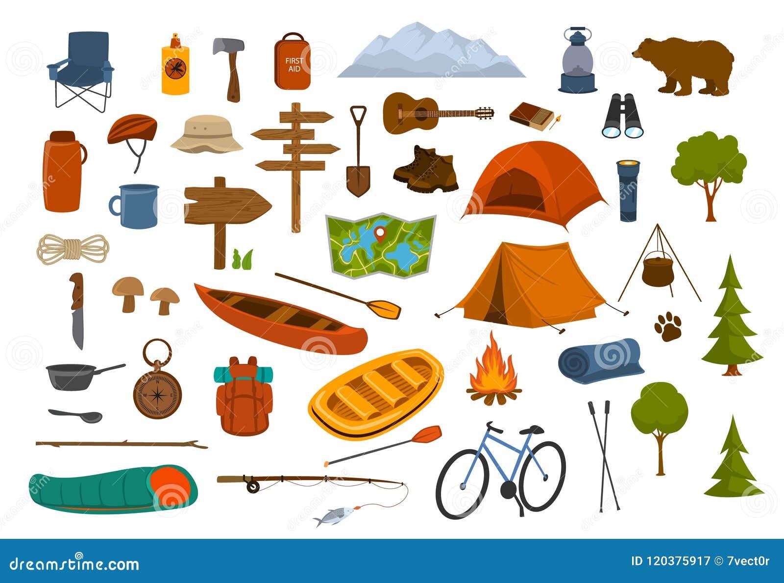 El acampar caminando gráficos del engranaje y de las fuentes