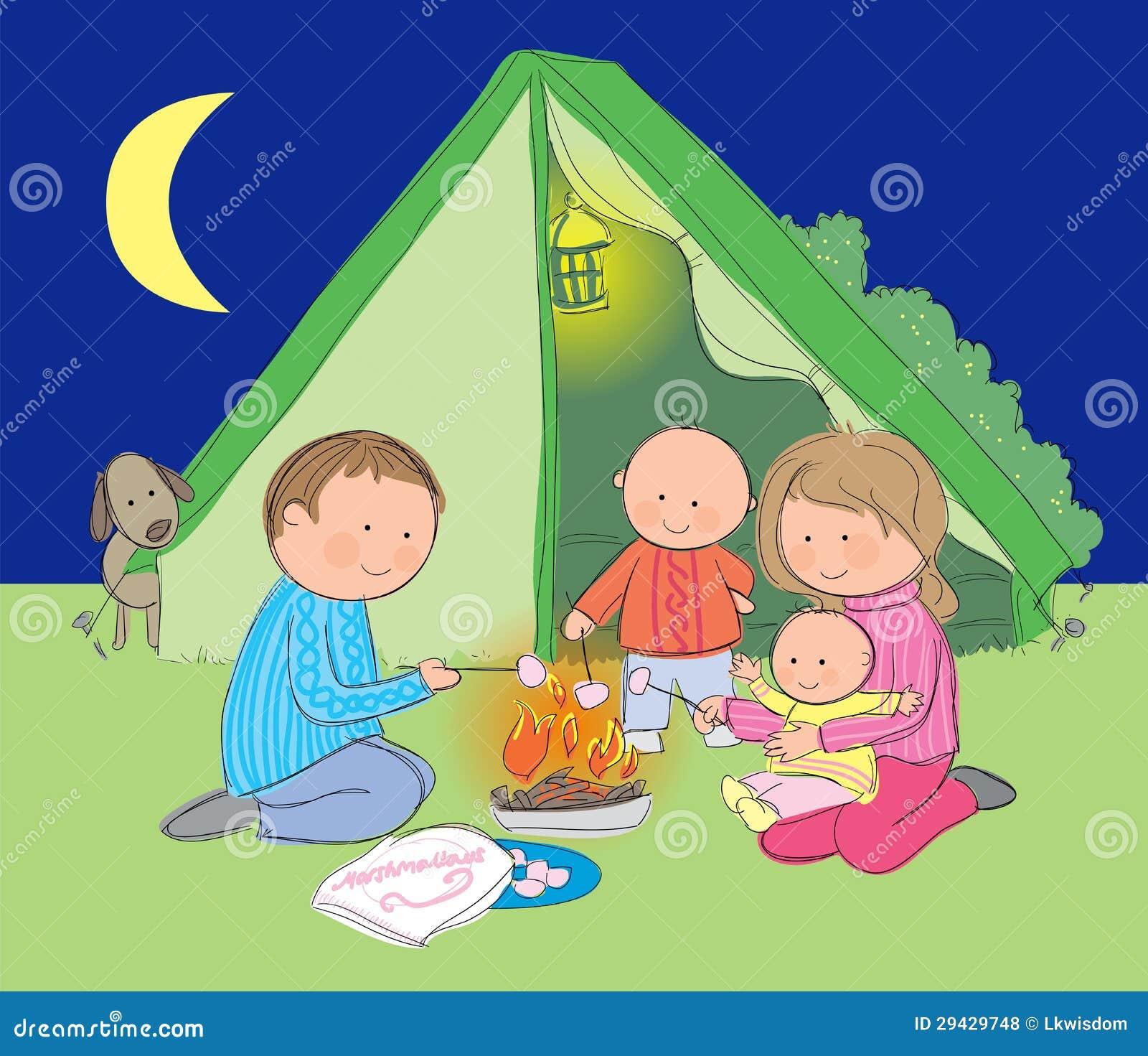 El acampar de la familia