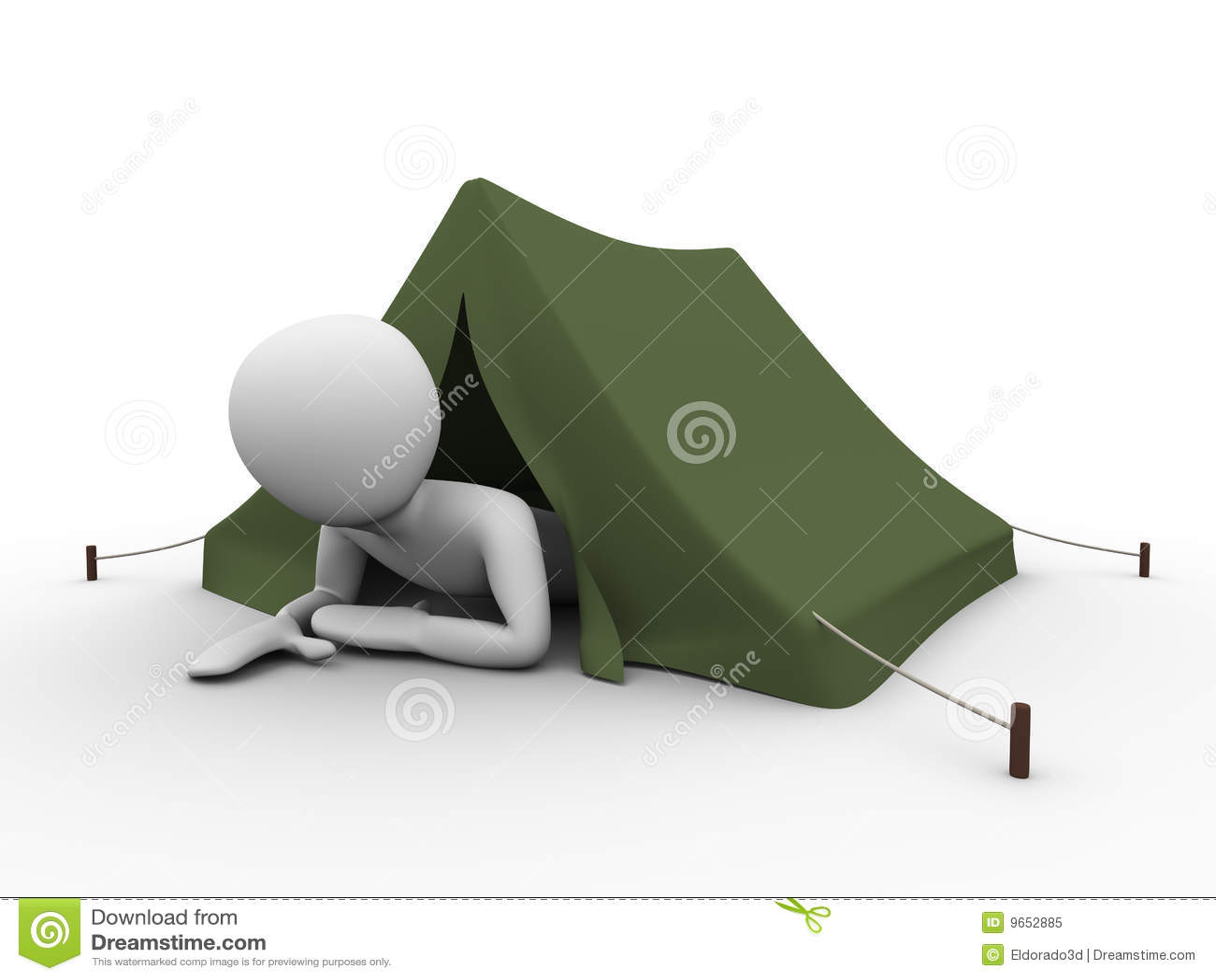El acampar vacaciones hombre crowling hacia fuera de la for Fuera de vacaciones