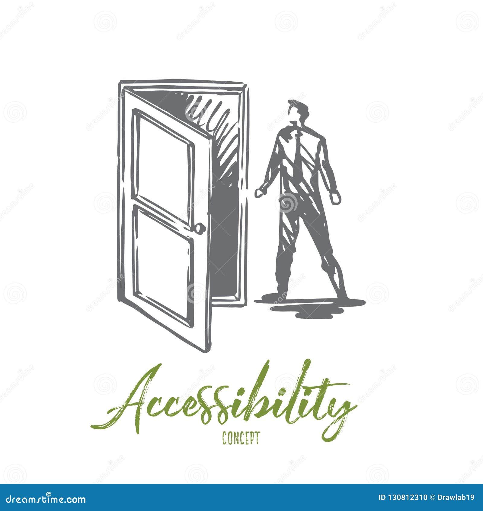 El acceso, puerta, se abre, entra, concepto del negocio Vector aislado dibujado mano