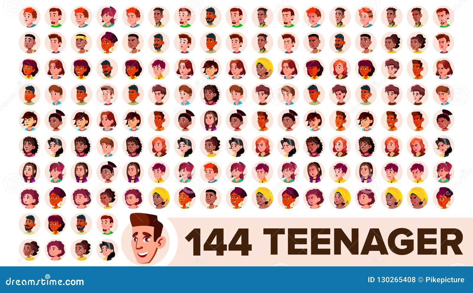 El adolescente Avatar fijó vector Muchacha, individuo Racial multi Haga frente a las emociones Retrato multinacional de la gente