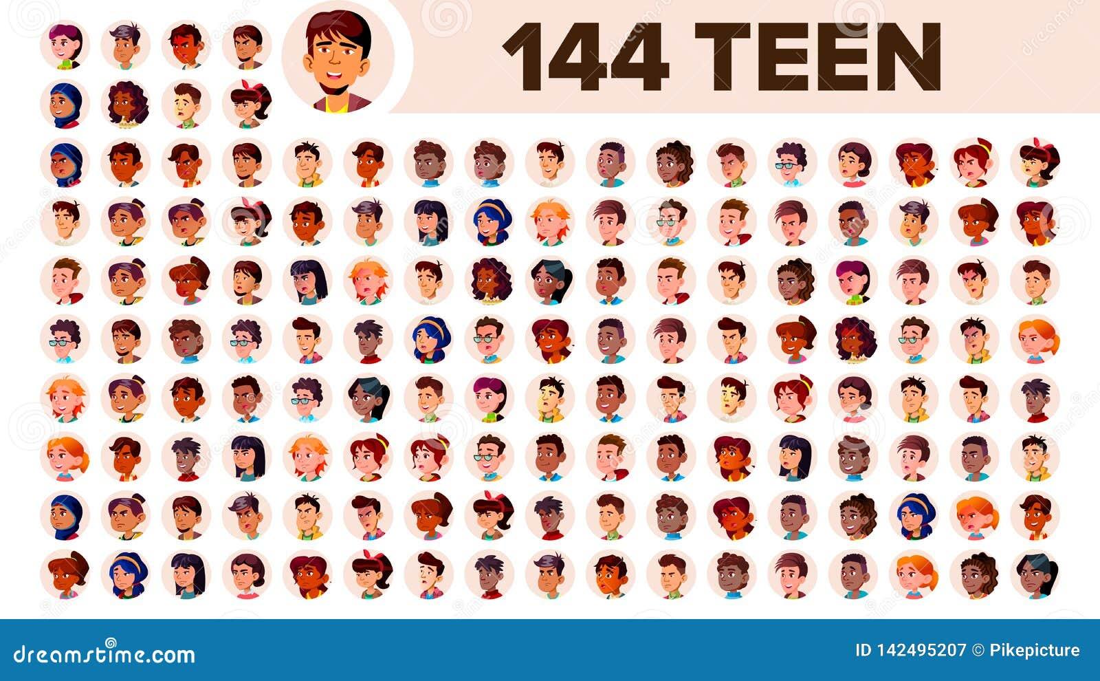 El adolescente Avatar fijó vector Racial multi Haga frente a las emociones Retrato multinacional de la gente del usuario Varón, f