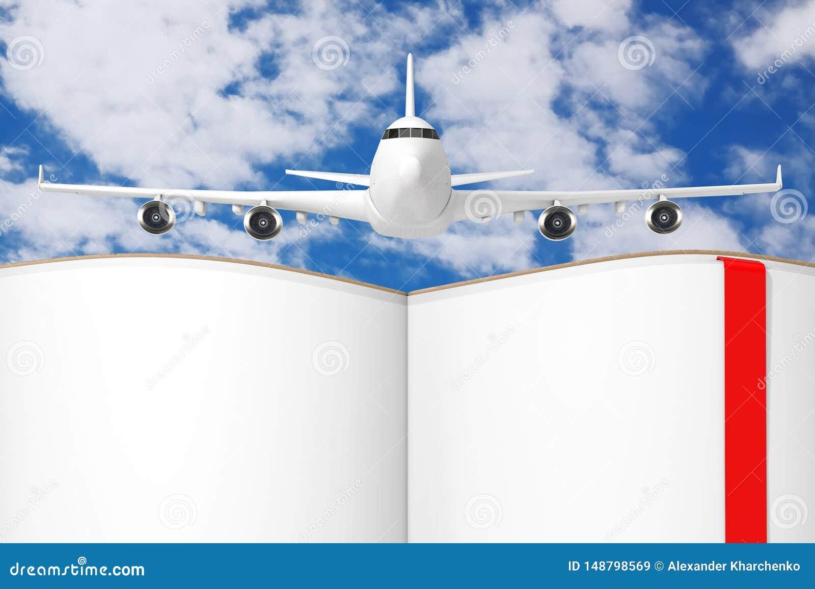 El aeroplano de Jet Passenger blanco sobre el libro abierto con las p?ginas en blanco para su dise?o representaci?n 3d