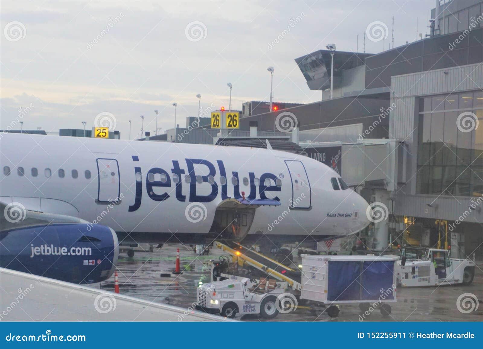 El aeroplano de Jetblue descarga el equipaje en el terminal