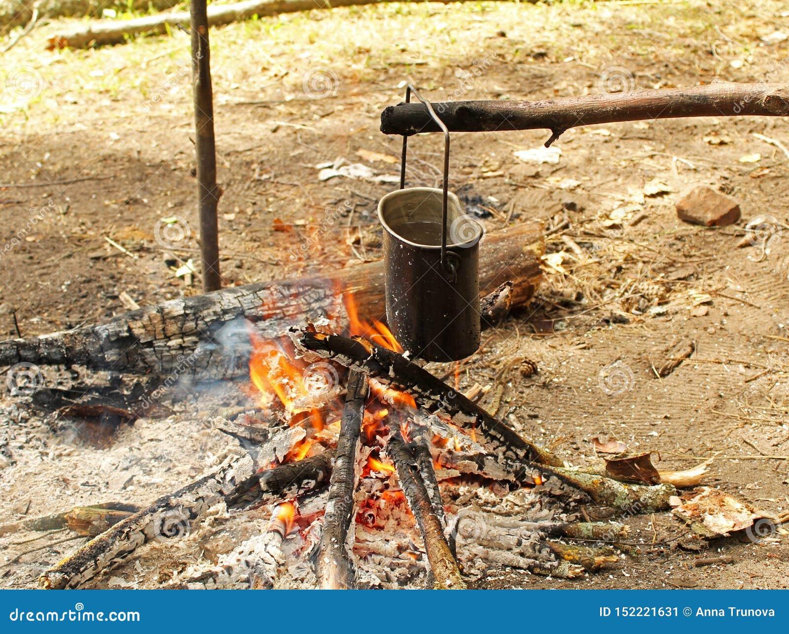 El agua en un pote de campo hierve sobre un fuego en un campo del bosque en verano