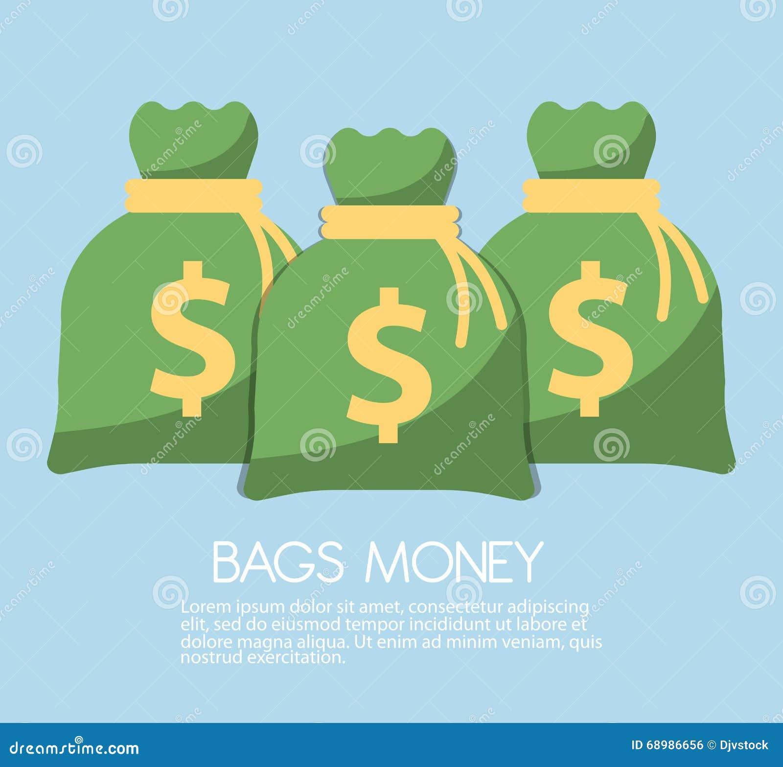 El ahorro del dinero y el icono del bolso del dinero diseñan, vector el ejemplo